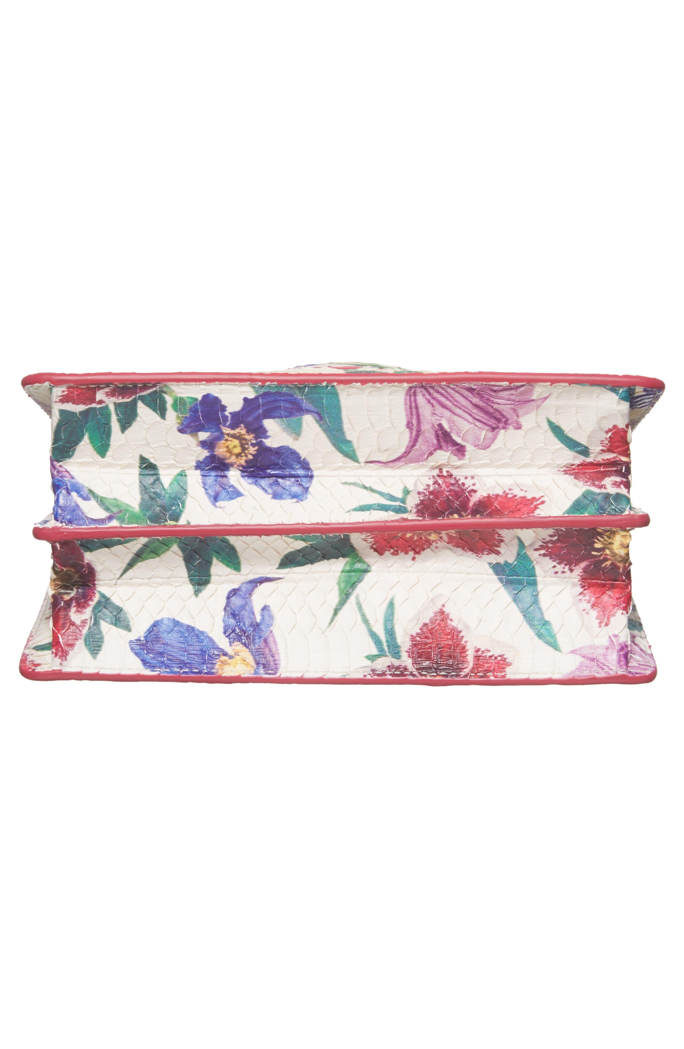 Small Thalia Floral Print Genuine Snakeskin Shoulder Bag,                             Alternate thumbnail 6, color,                             376