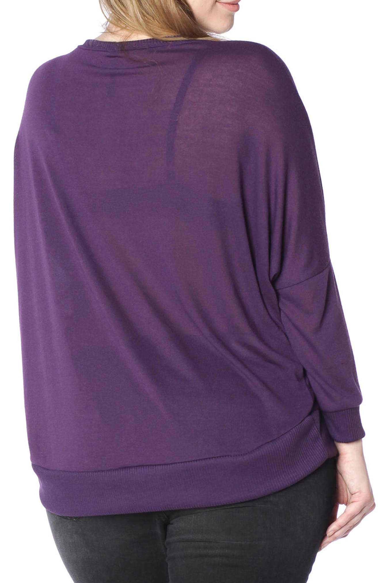 Dolman Sleeve Ribbed Pullover,                             Alternate thumbnail 2, color,                             PLUM