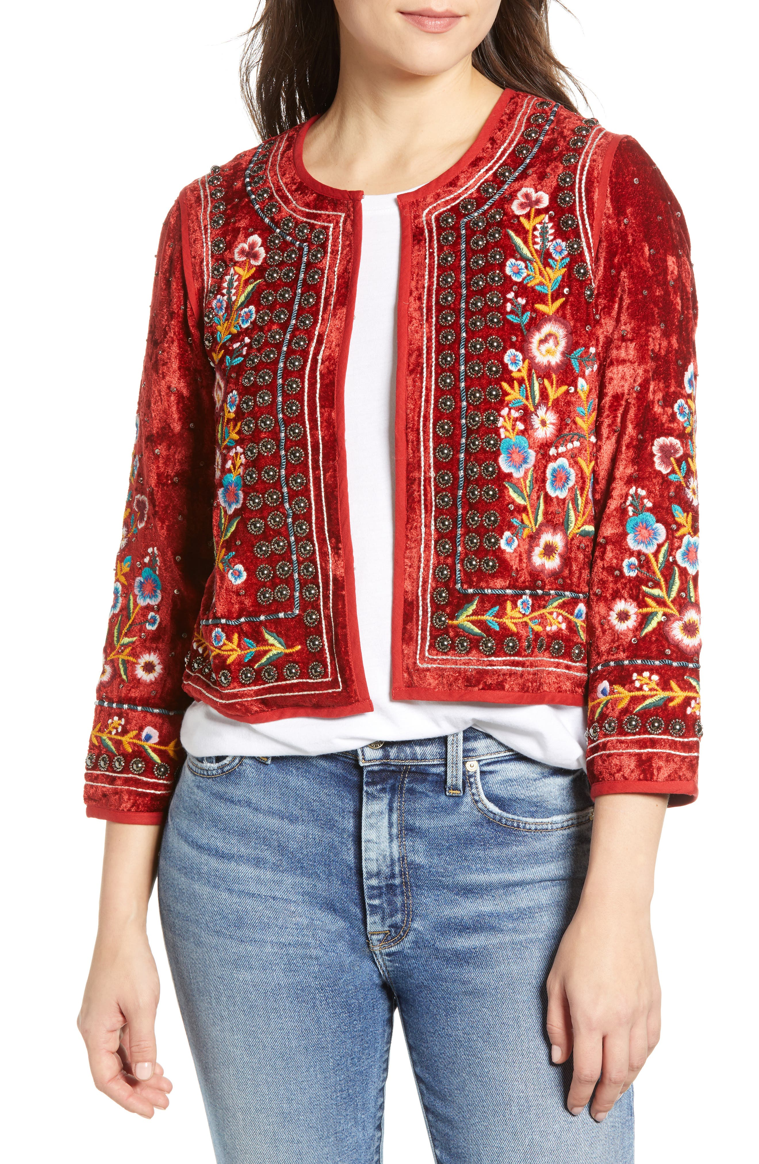 Embroidered Velvet Jacket,                             Main thumbnail 1, color,                             RED