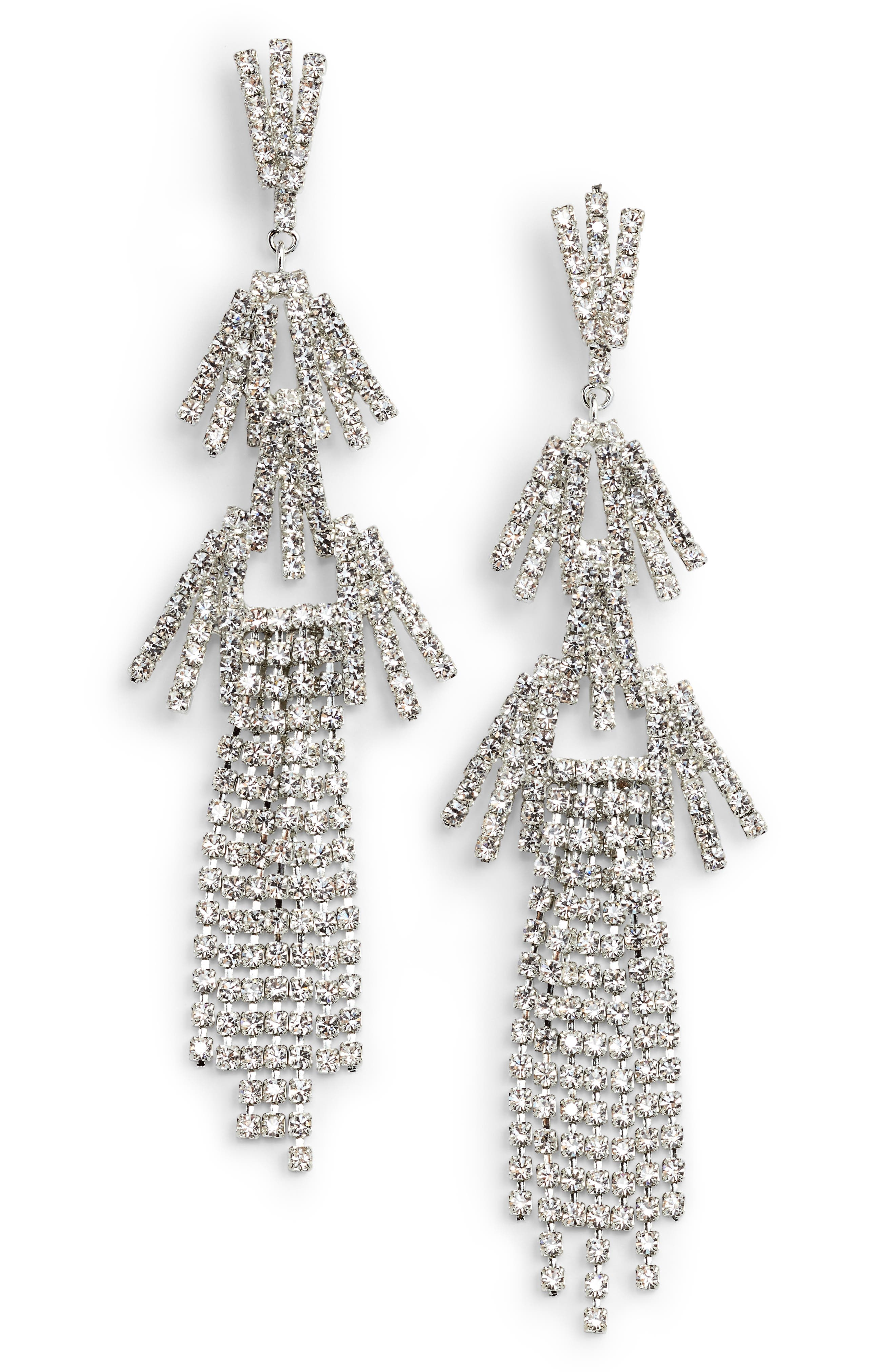 Crystal Stick Fringe Drop Earrings,                             Main thumbnail 1, color,                             040