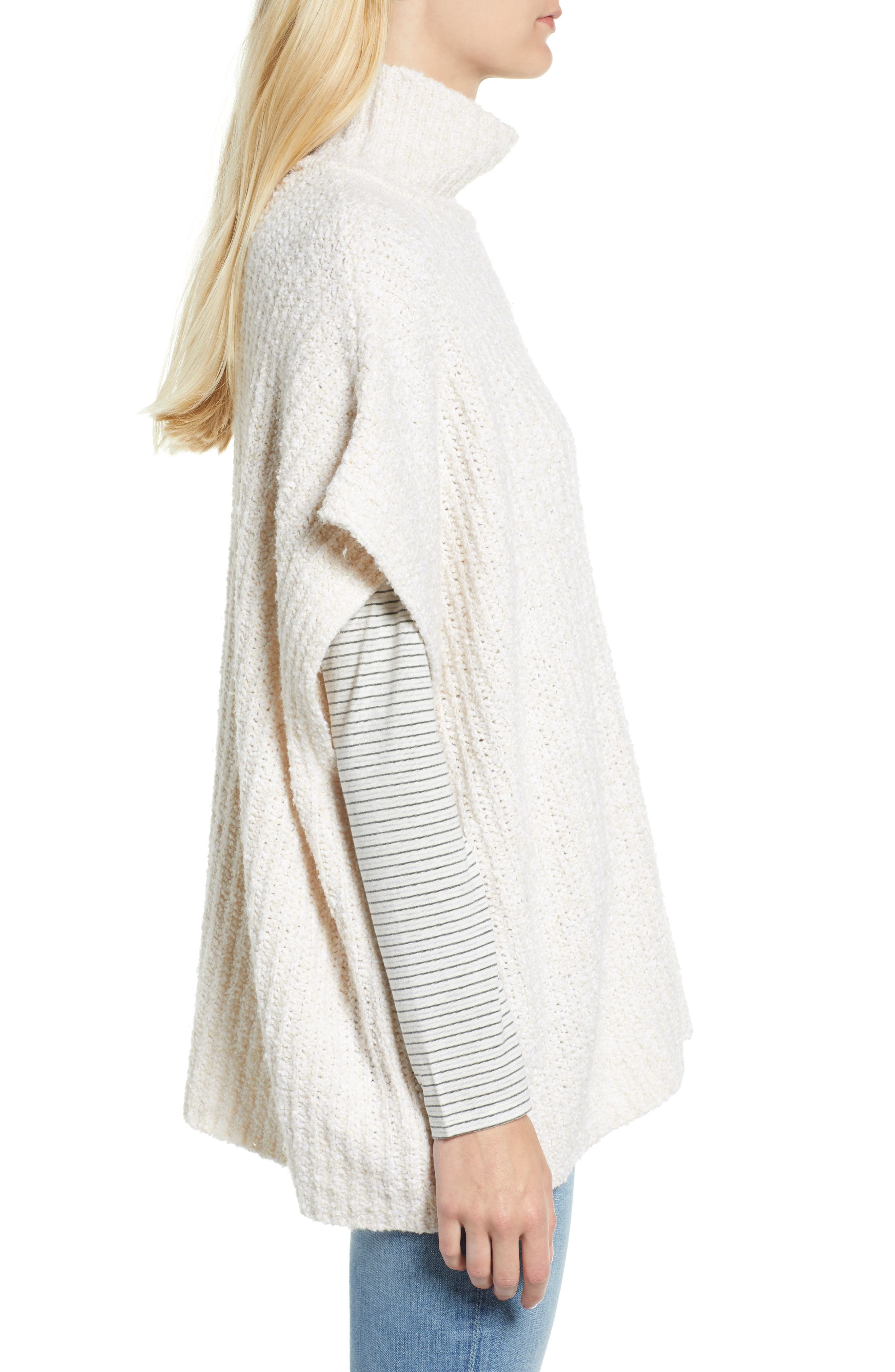 Ribbed Poncho Sweater,                             Alternate thumbnail 4, color,                             IVORY