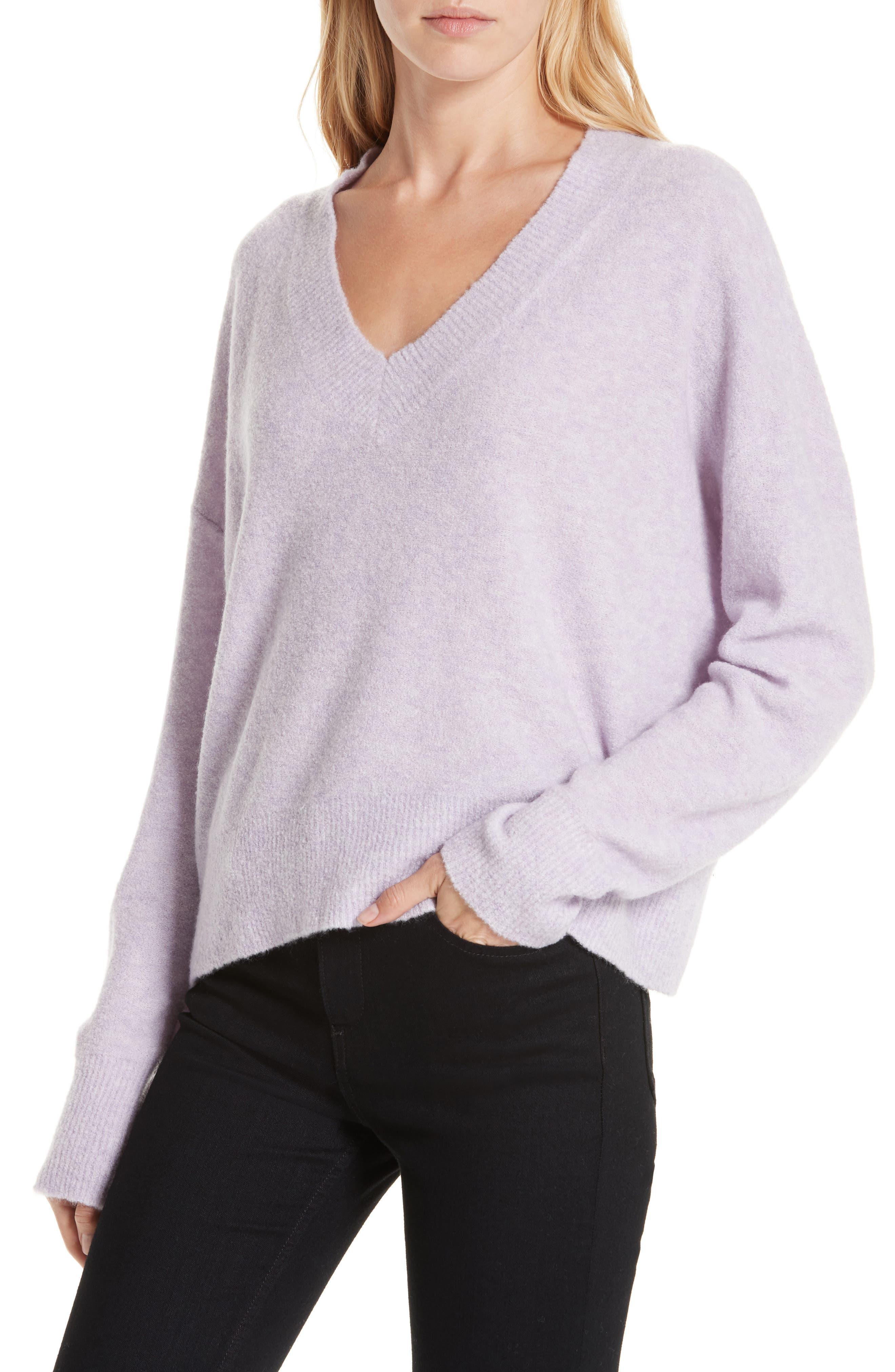 Cashmere Blend Bouclé Sweater,                             Alternate thumbnail 4, color,                             PURPLE HEIRLOOM HEATHER