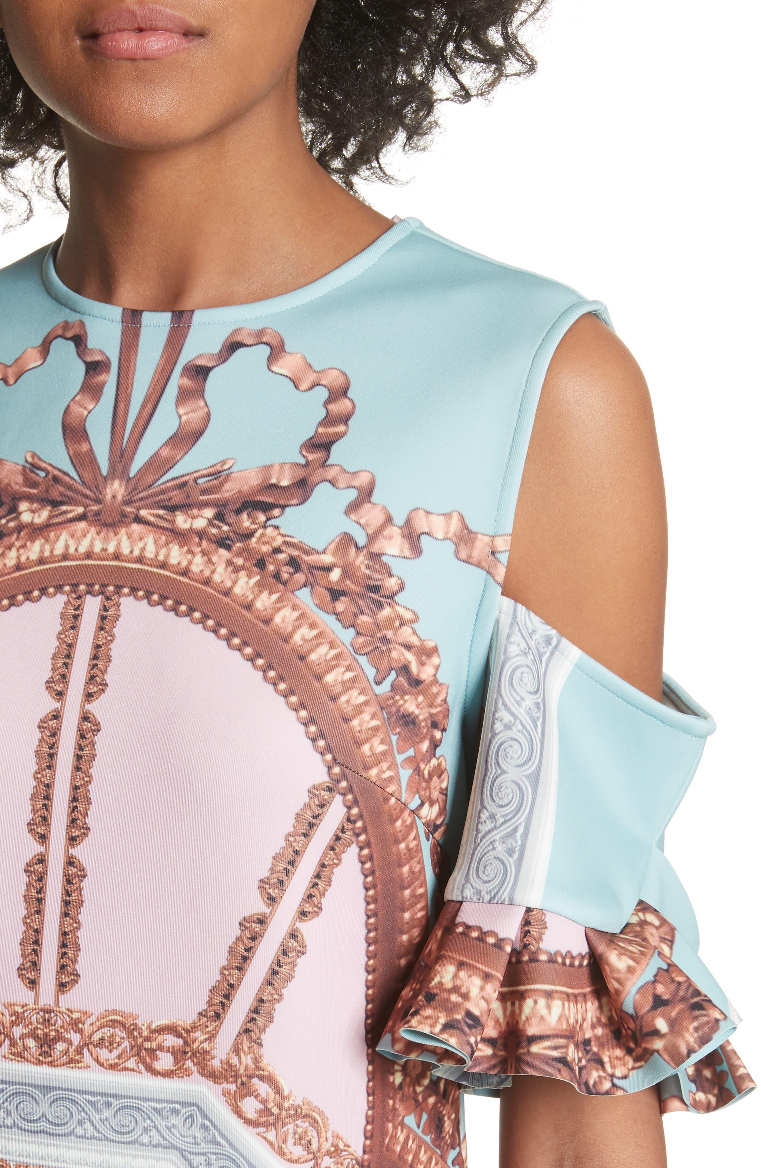 Norahe Versailles Cold Shoulder Dress,                             Alternate thumbnail 4, color,                             440
