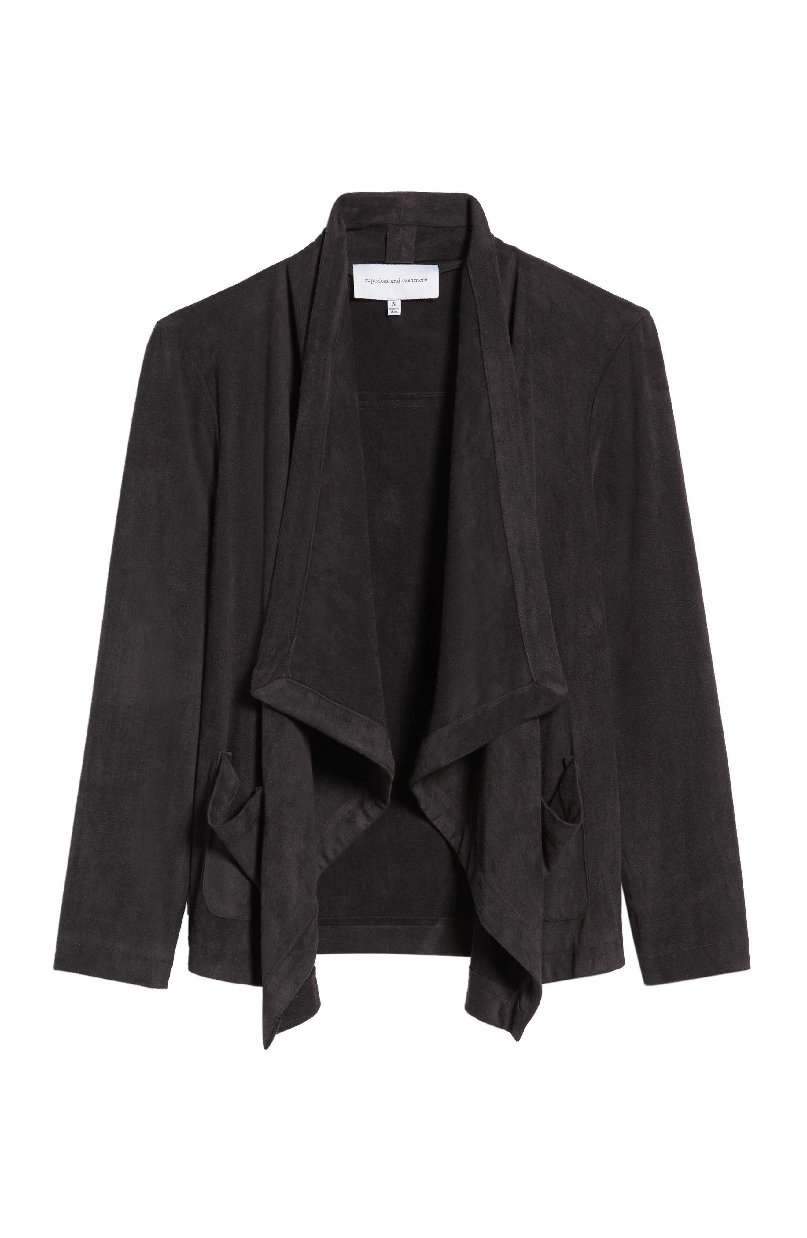 Faux Suede Waterfall Jacket,                             Alternate thumbnail 6, color,                             CHARCOAL
