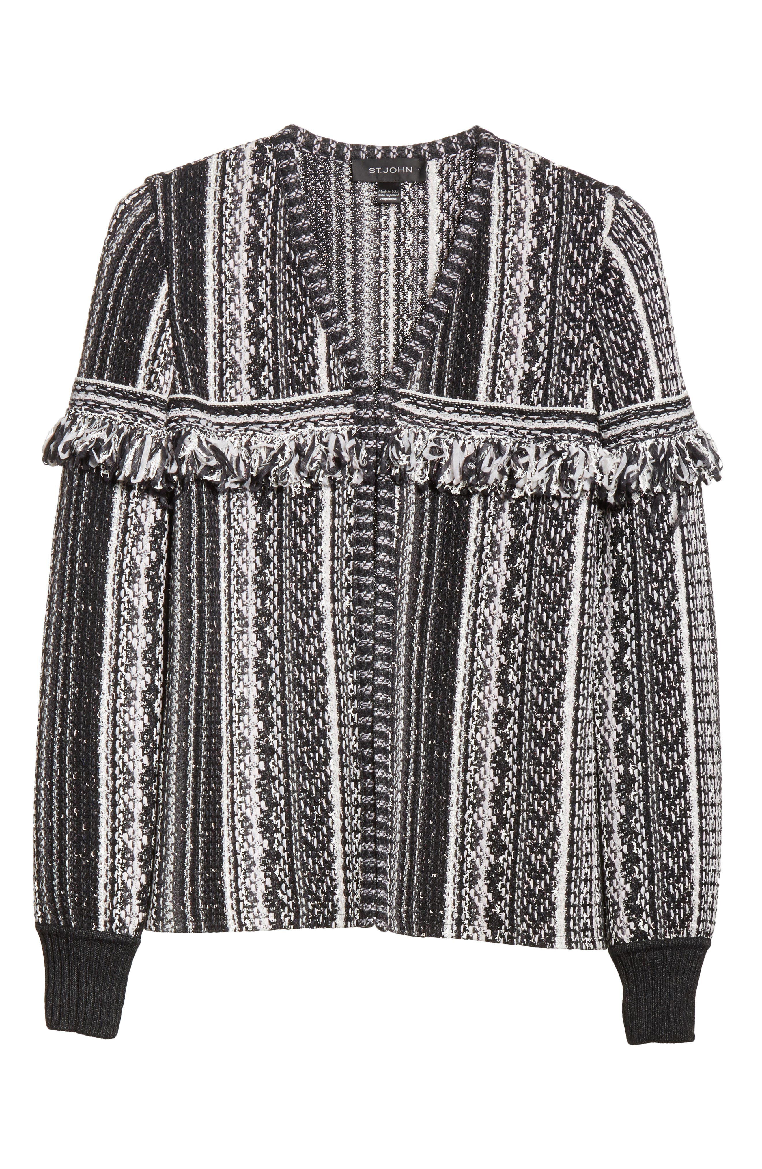 Fringe Vertical Ombré Stripe Tweed Knit Jacket,                             Alternate thumbnail 5, color,                             001