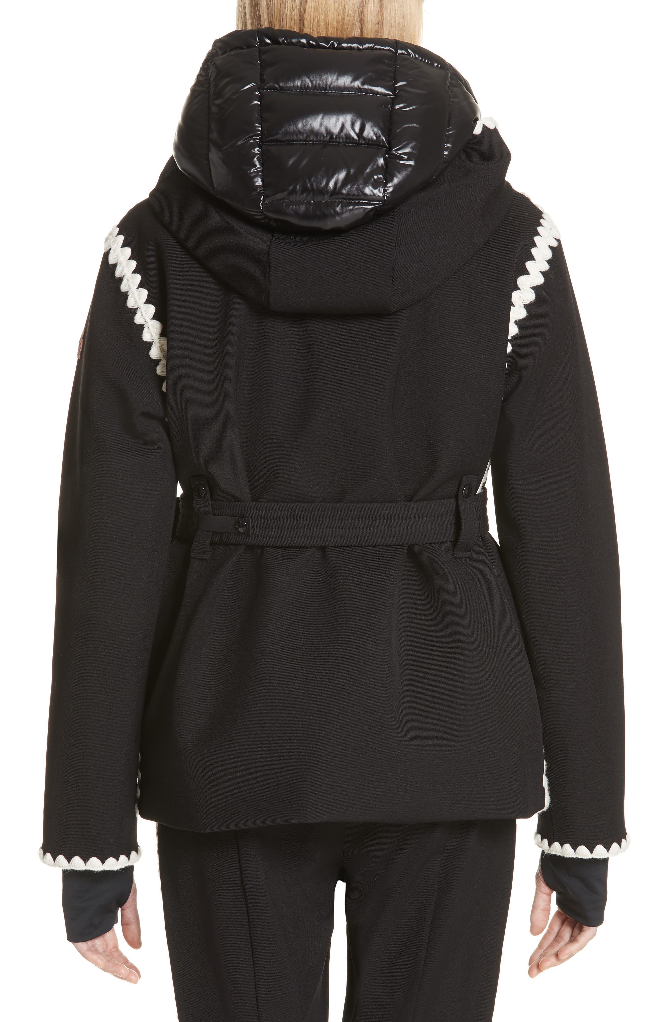 Bourget Embroidered Hooded Down Coat,                             Alternate thumbnail 2, color,                             BLACK