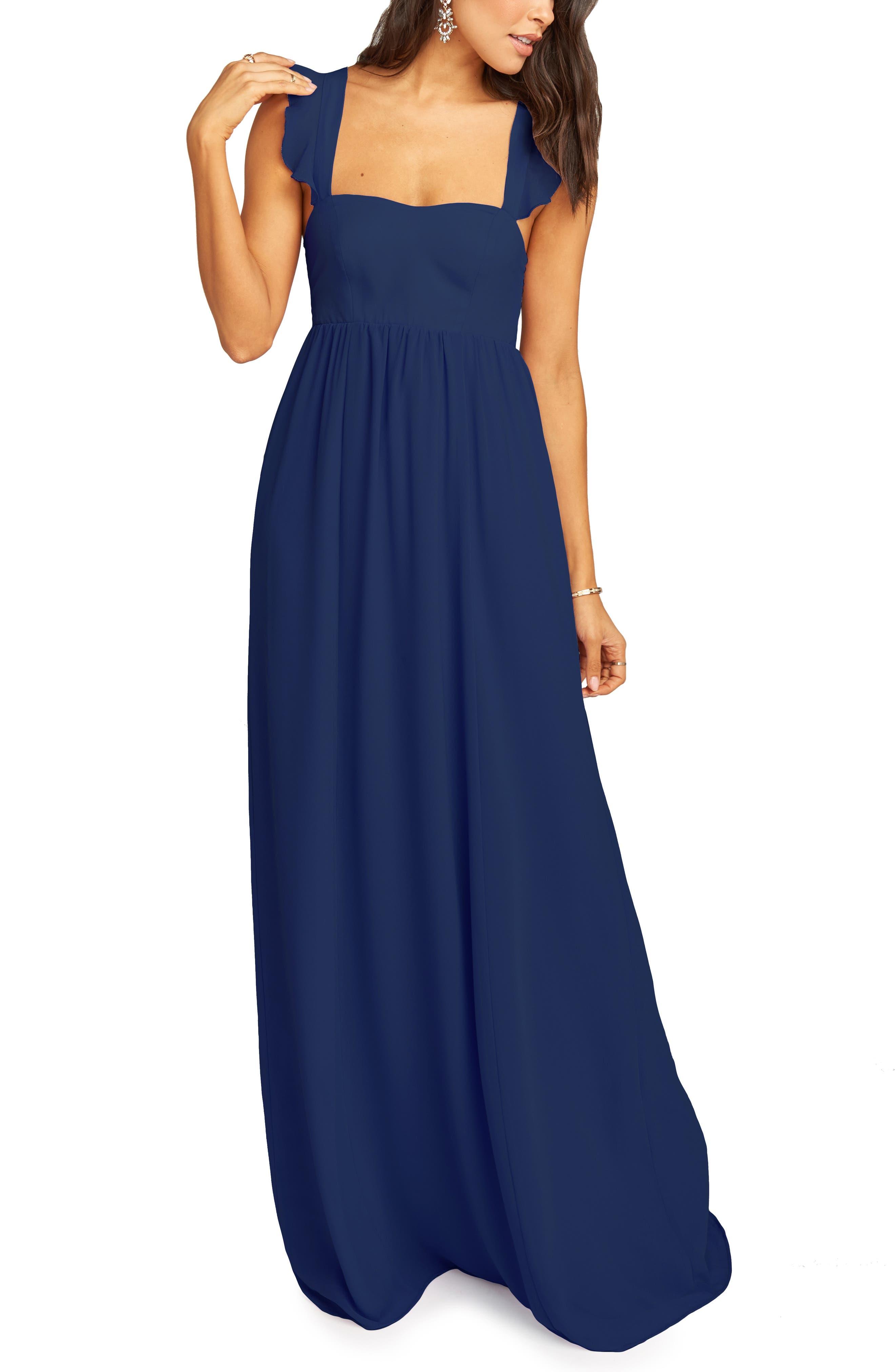 Show Me Your Mumu June Ruffle Strap Evening Dress, Blue
