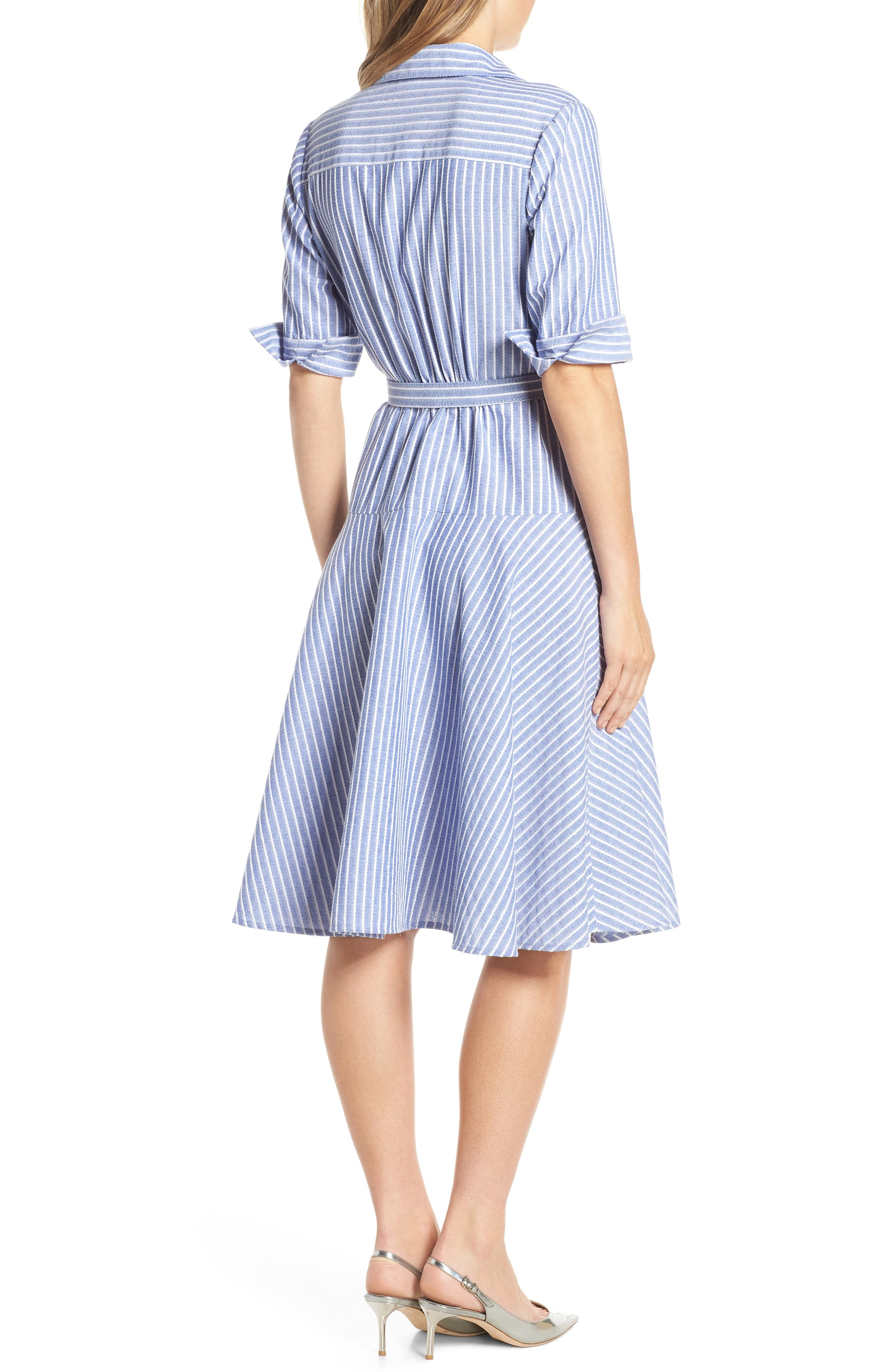 1901,                             Stripe Belted Shirtdress,                             Alternate thumbnail 2, color,                             DENIM