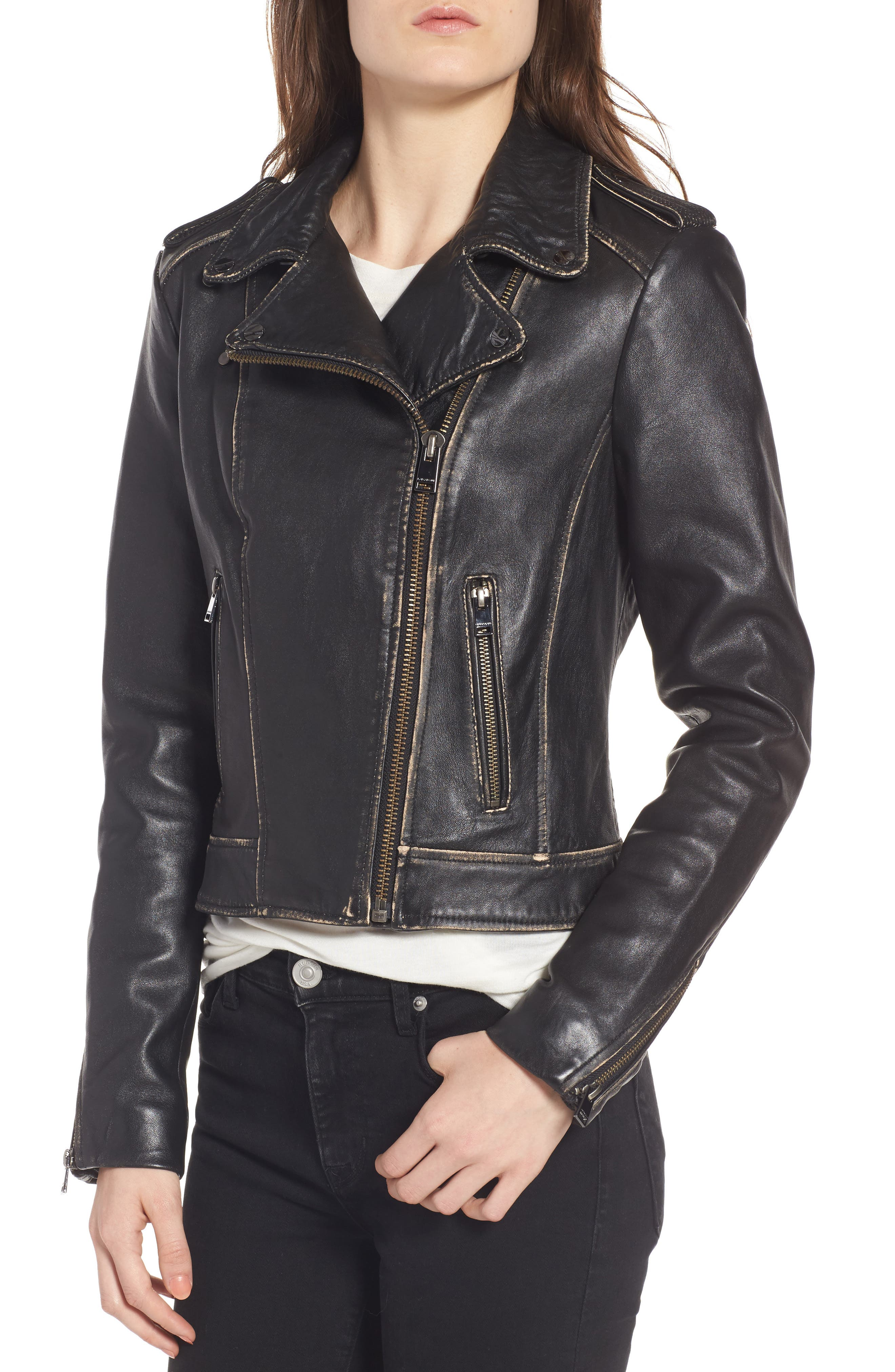 Moto Jacket with Detachable Genuine Shearling,                             Alternate thumbnail 4, color,                             001