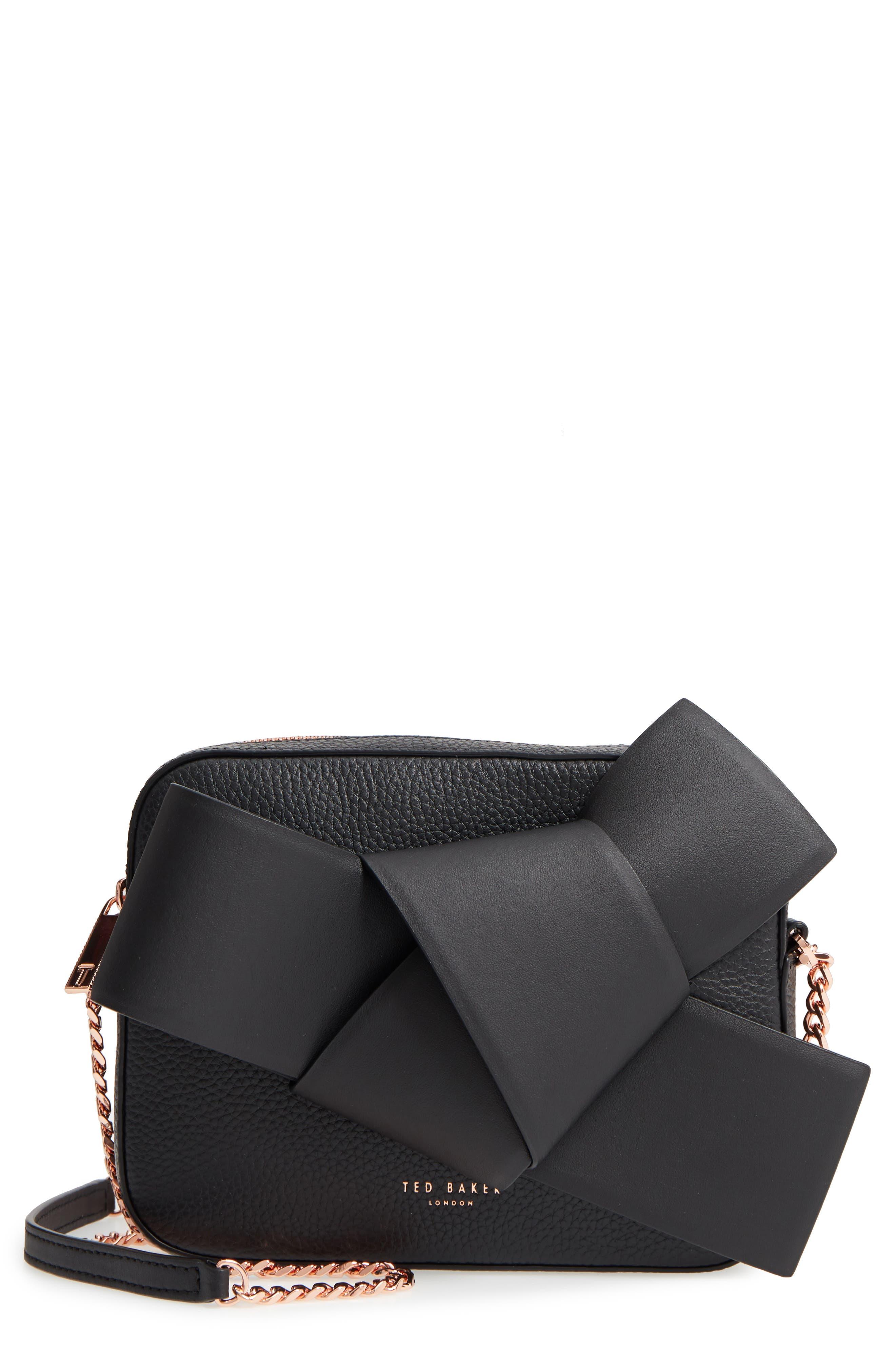 Giant Knot Leather Camera Bag,                             Main thumbnail 1, color,                             BLACK