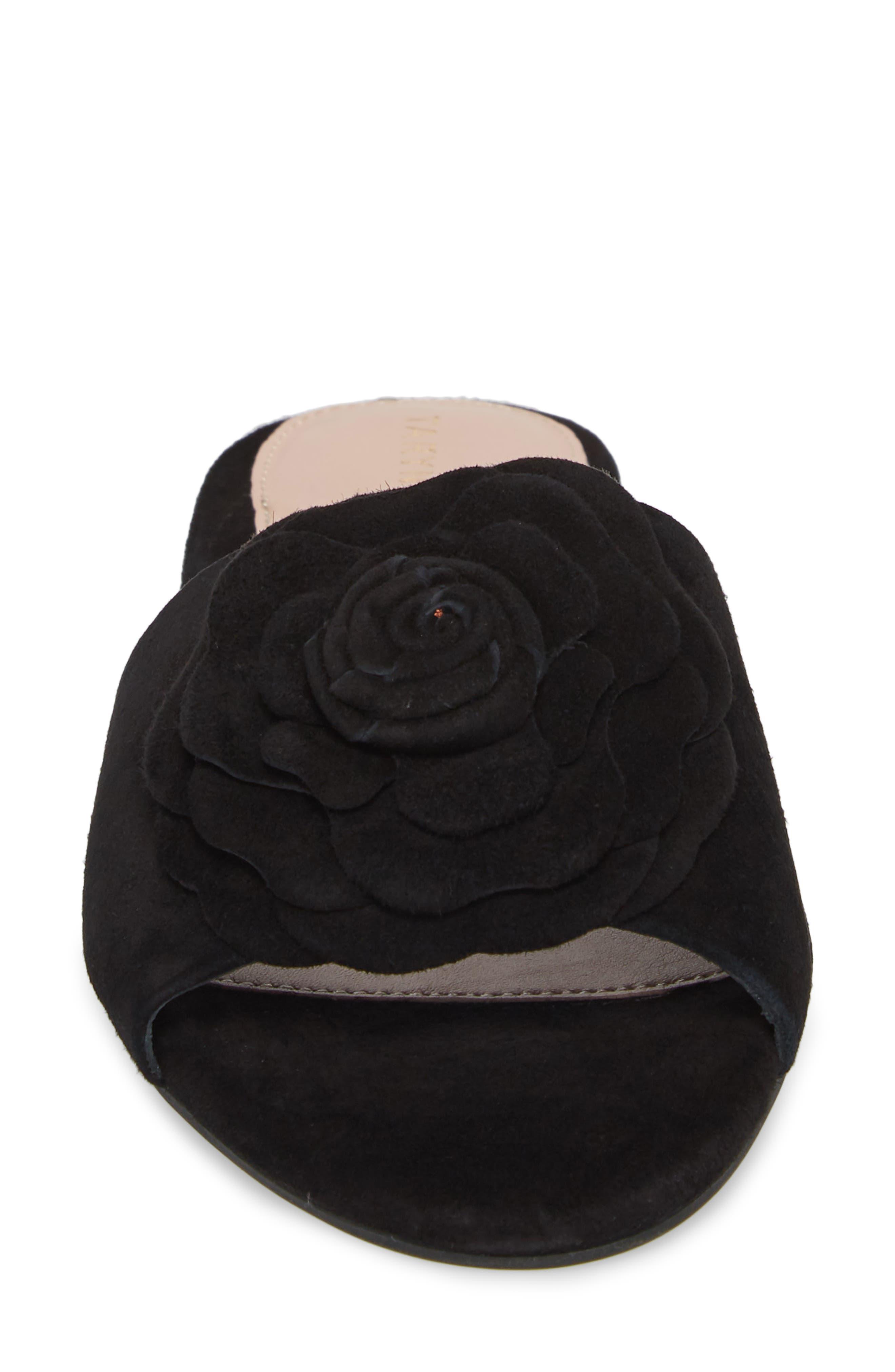 Violet Flower Slide Sandal,                             Alternate thumbnail 4, color,                             BLACK SUEDE