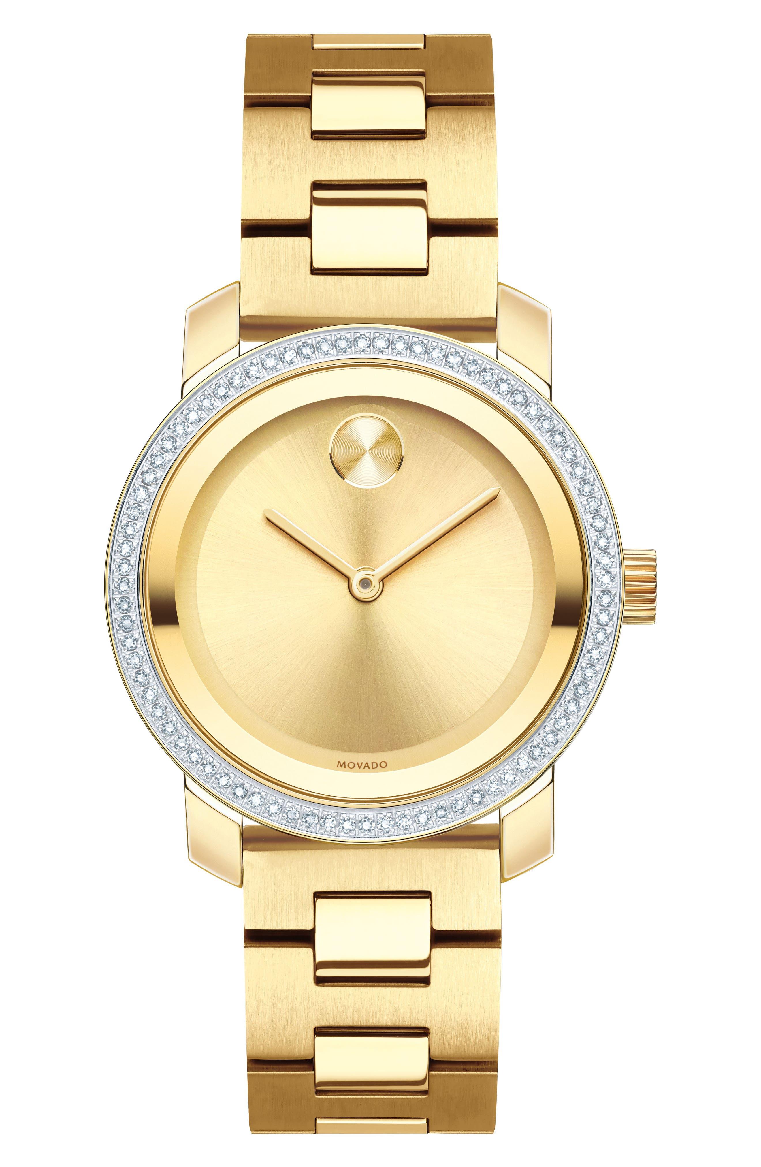 Bold Diamond Bezel Bracelet Watch,                             Main thumbnail 1, color,                             GOLD