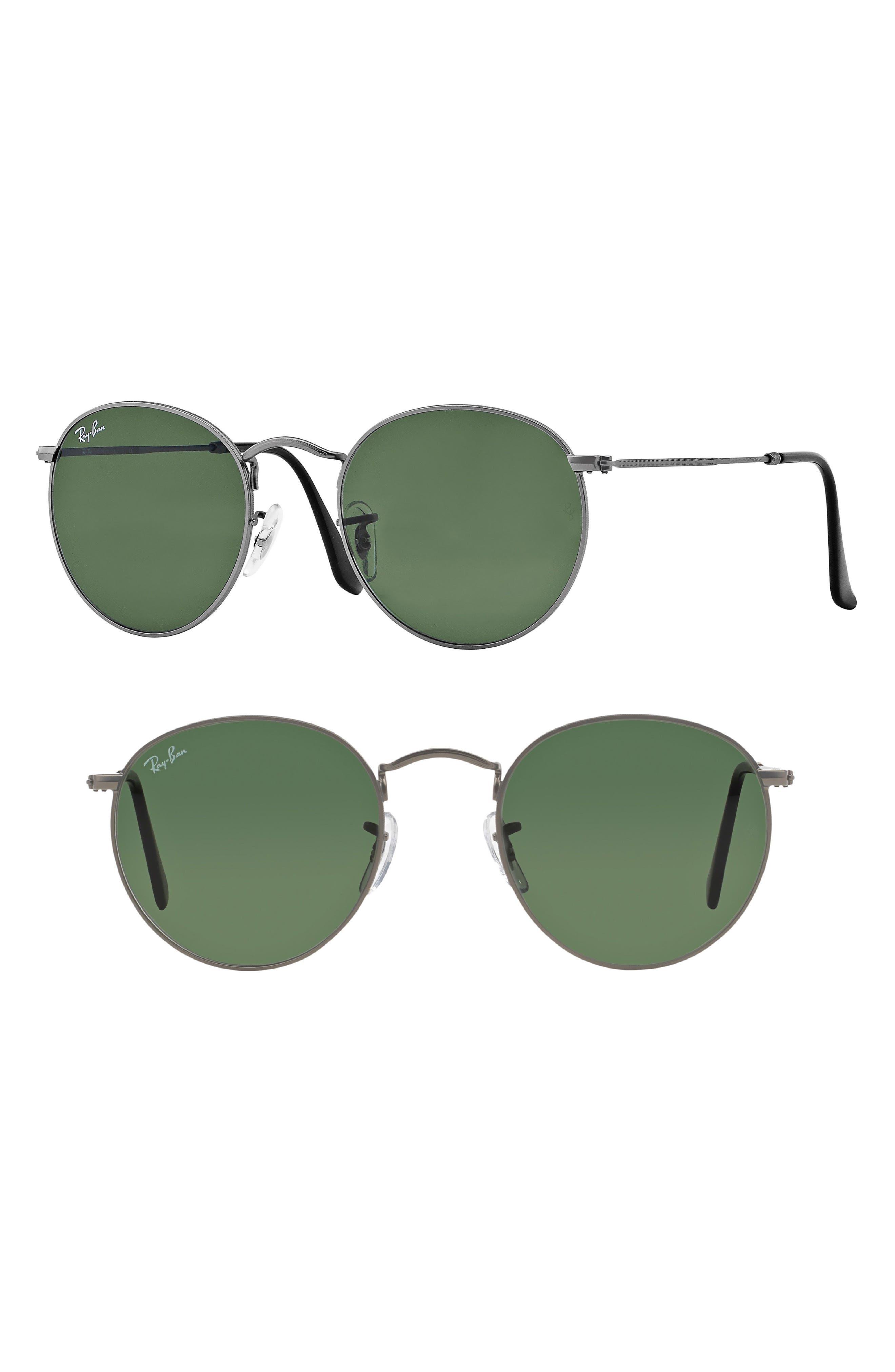 Icons 53mm Retro Sunglasses,                         Main,                         color, GUN/ GREEN SOLID