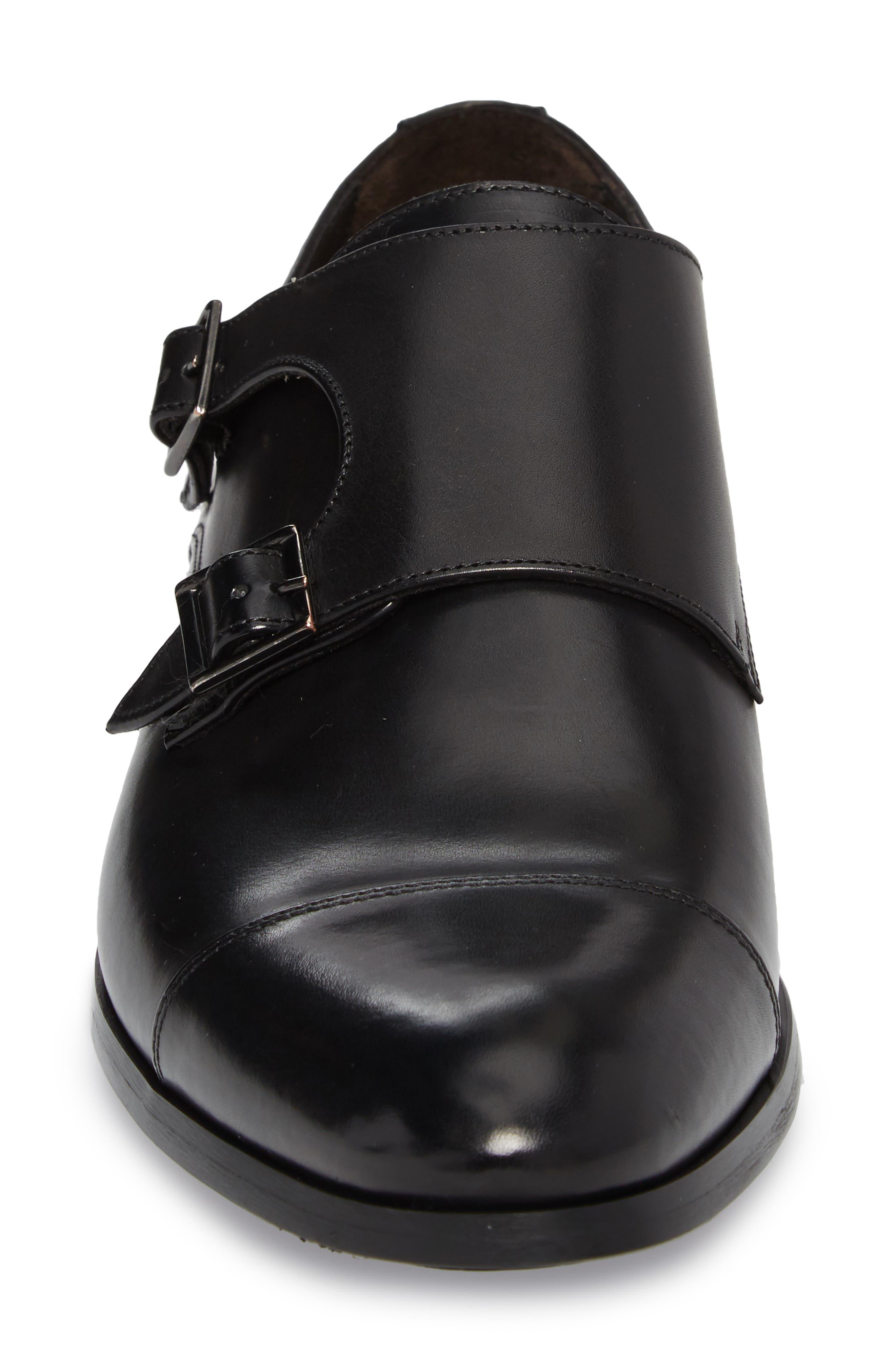 Bankston Cap Toe Double Strap Monk Shoe,                             Alternate thumbnail 4, color,                             BLACK LEATHER