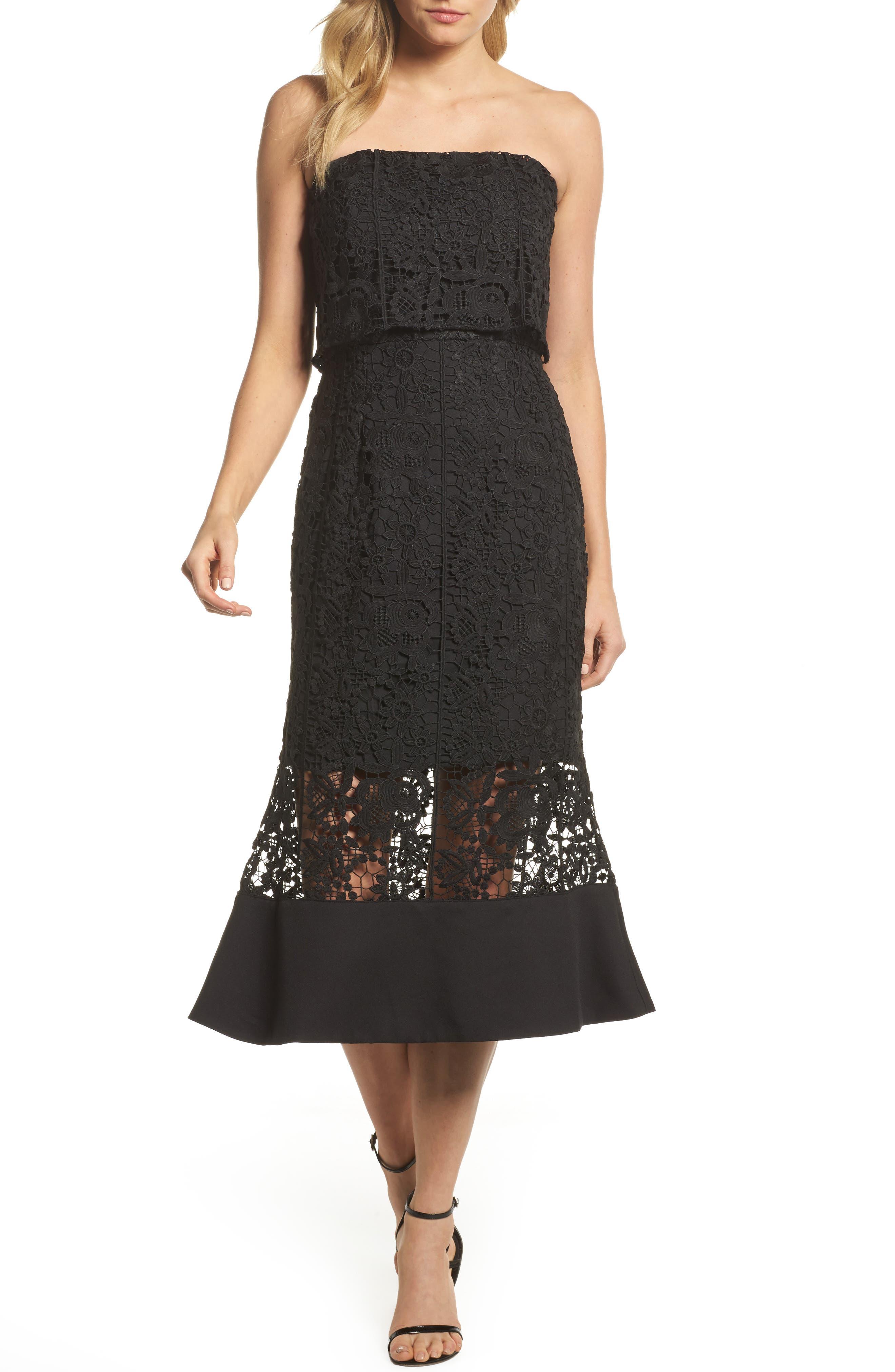Xenia Strapless Lace Midi Dress,                         Main,                         color, 001