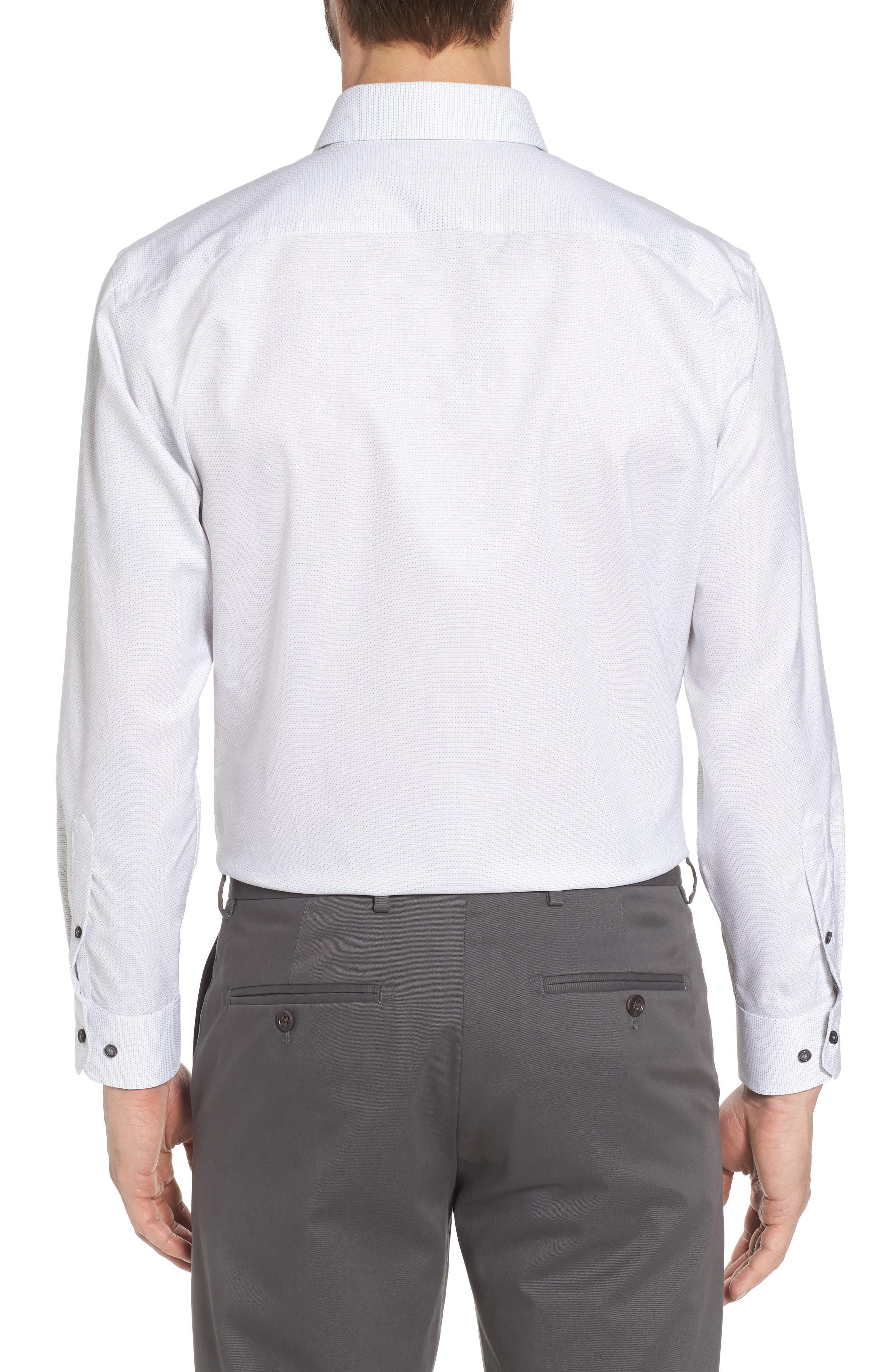 Trim Fit Dot Dress Shirt,                             Alternate thumbnail 3, color,                             100
