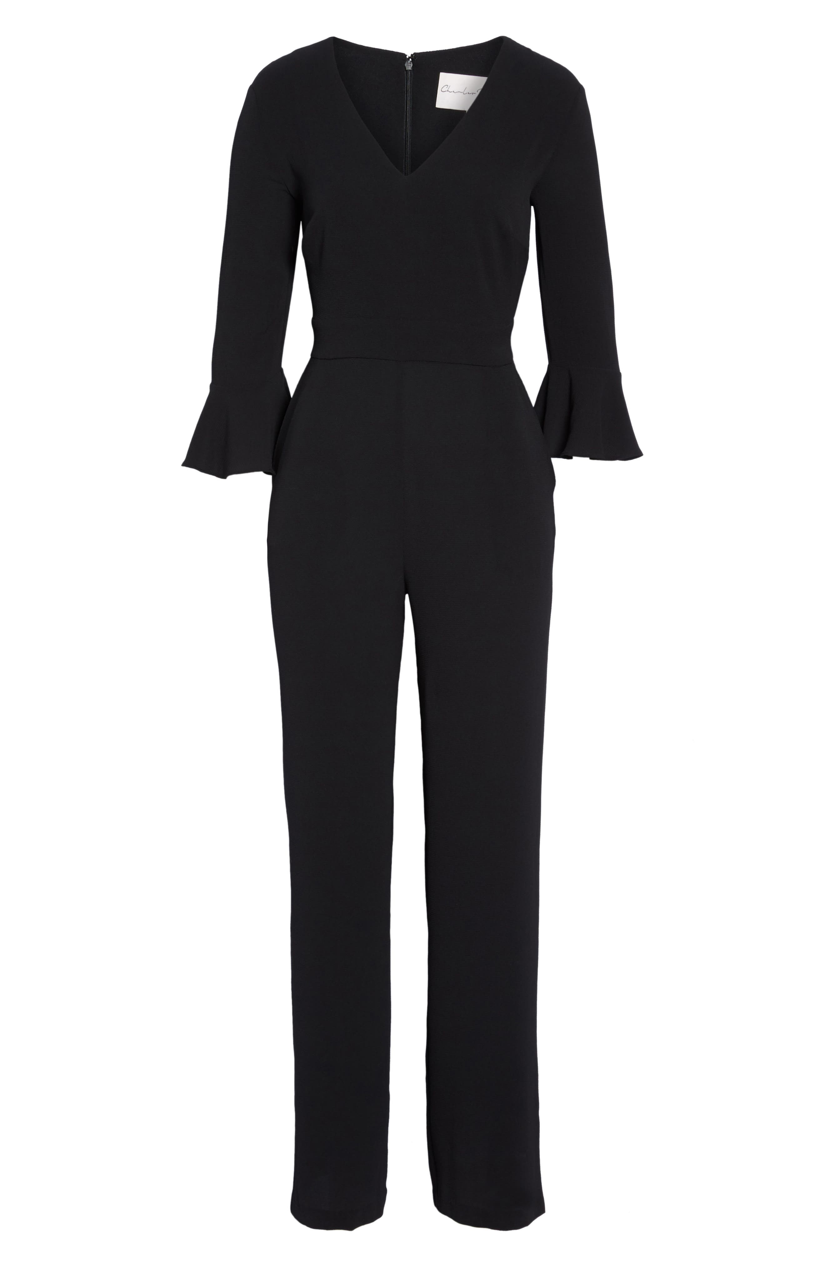 Flare Cuff Jumpsuit,                             Alternate thumbnail 6, color,                             001