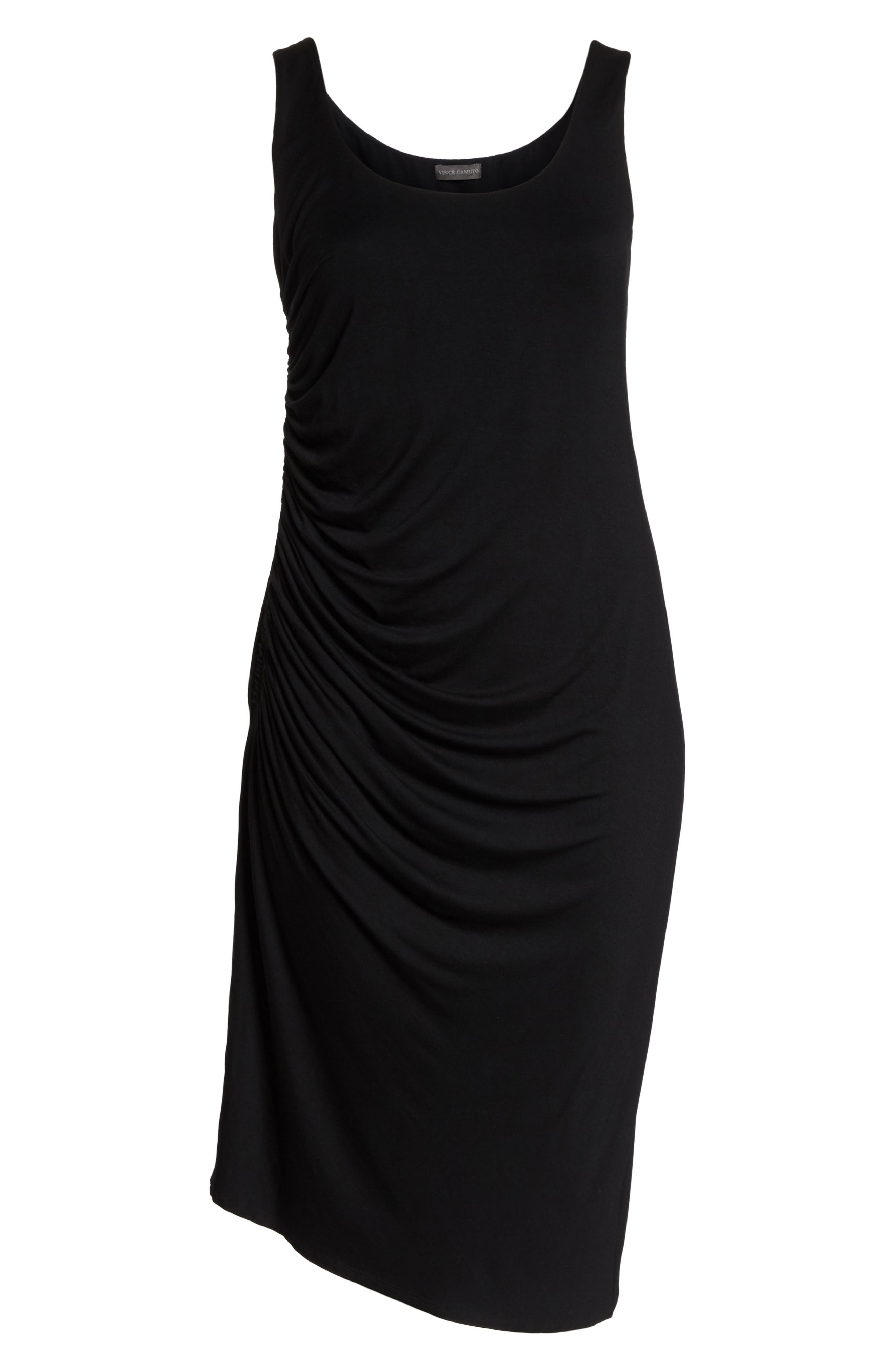 Side Ruched Body-Con Dress,                             Alternate thumbnail 6, color,                             RICH BLACK