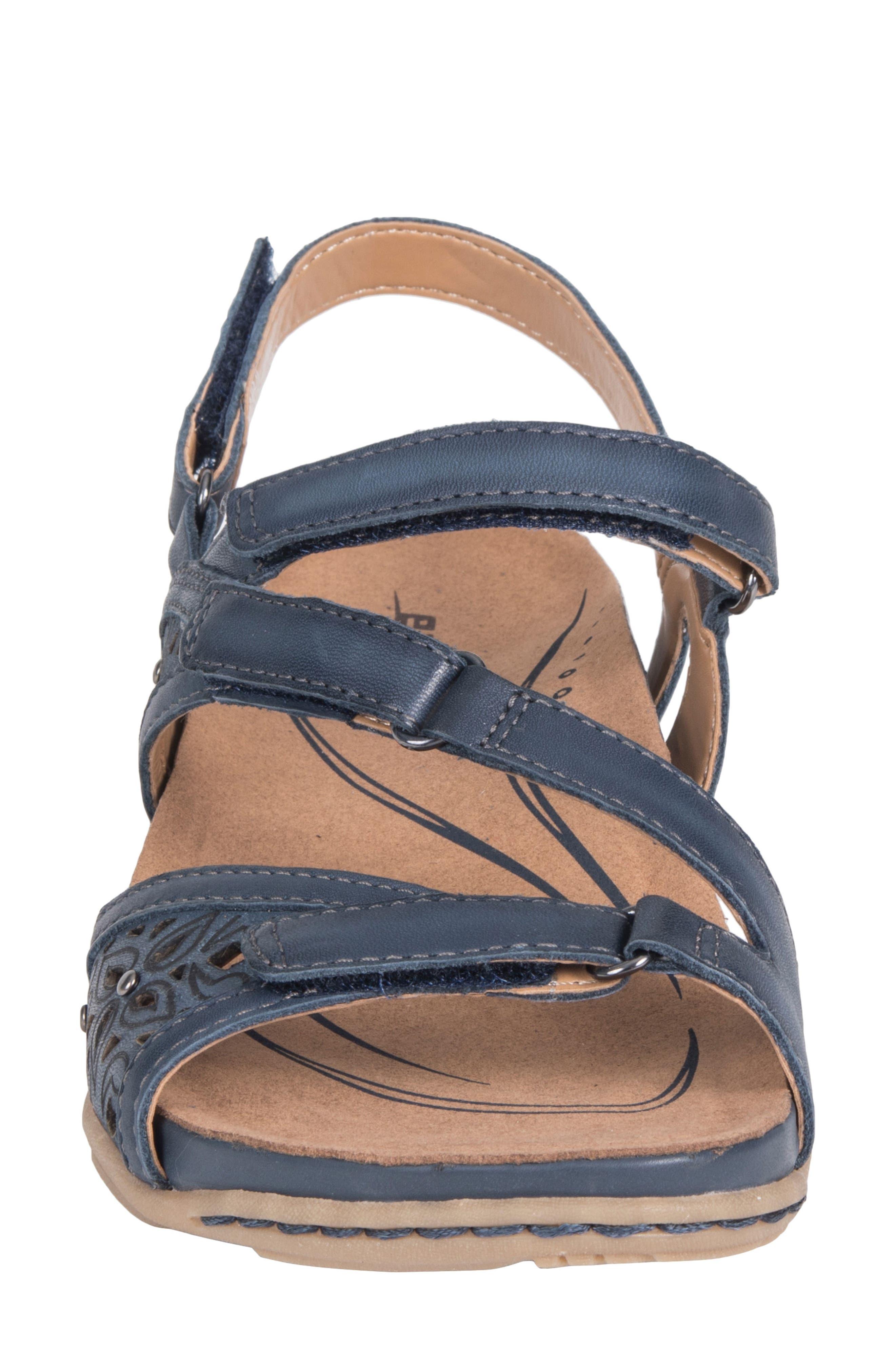 Maui Strappy Sandal,                             Alternate thumbnail 4, color,                             INDIGO BLUE LEATHER