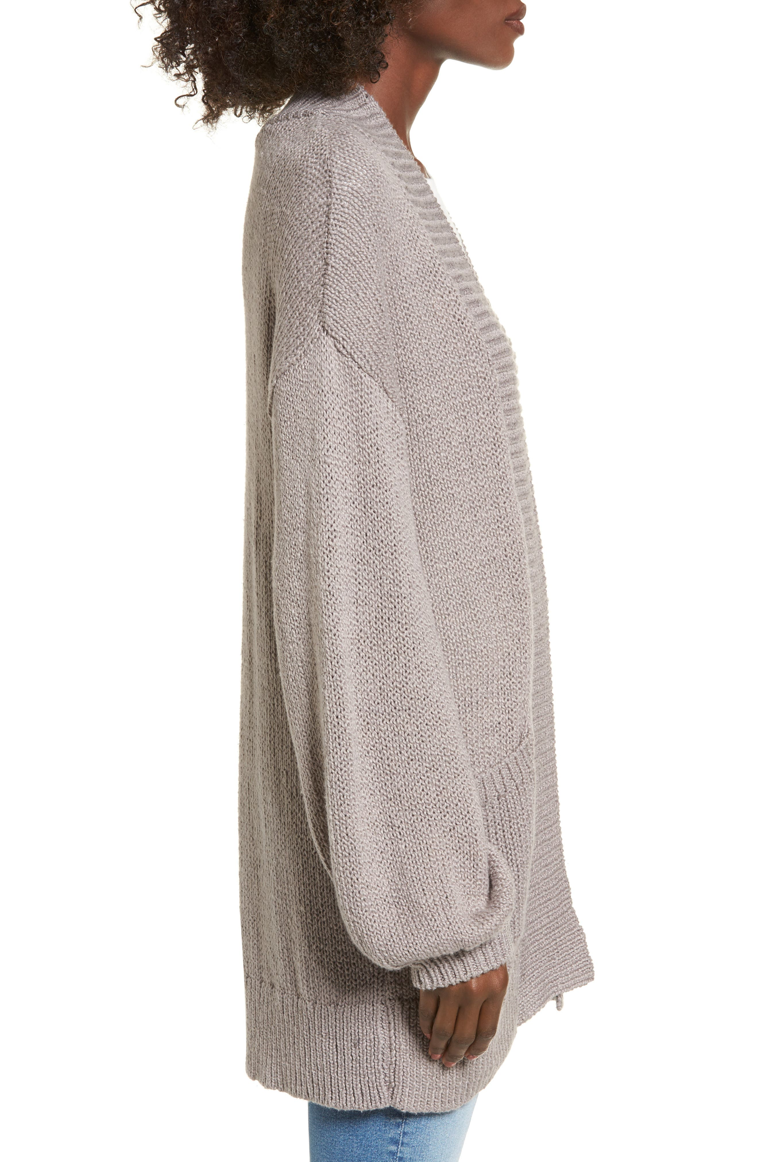 Blouson Sleeve Knit Cardigan,                             Alternate thumbnail 3, color,                             030
