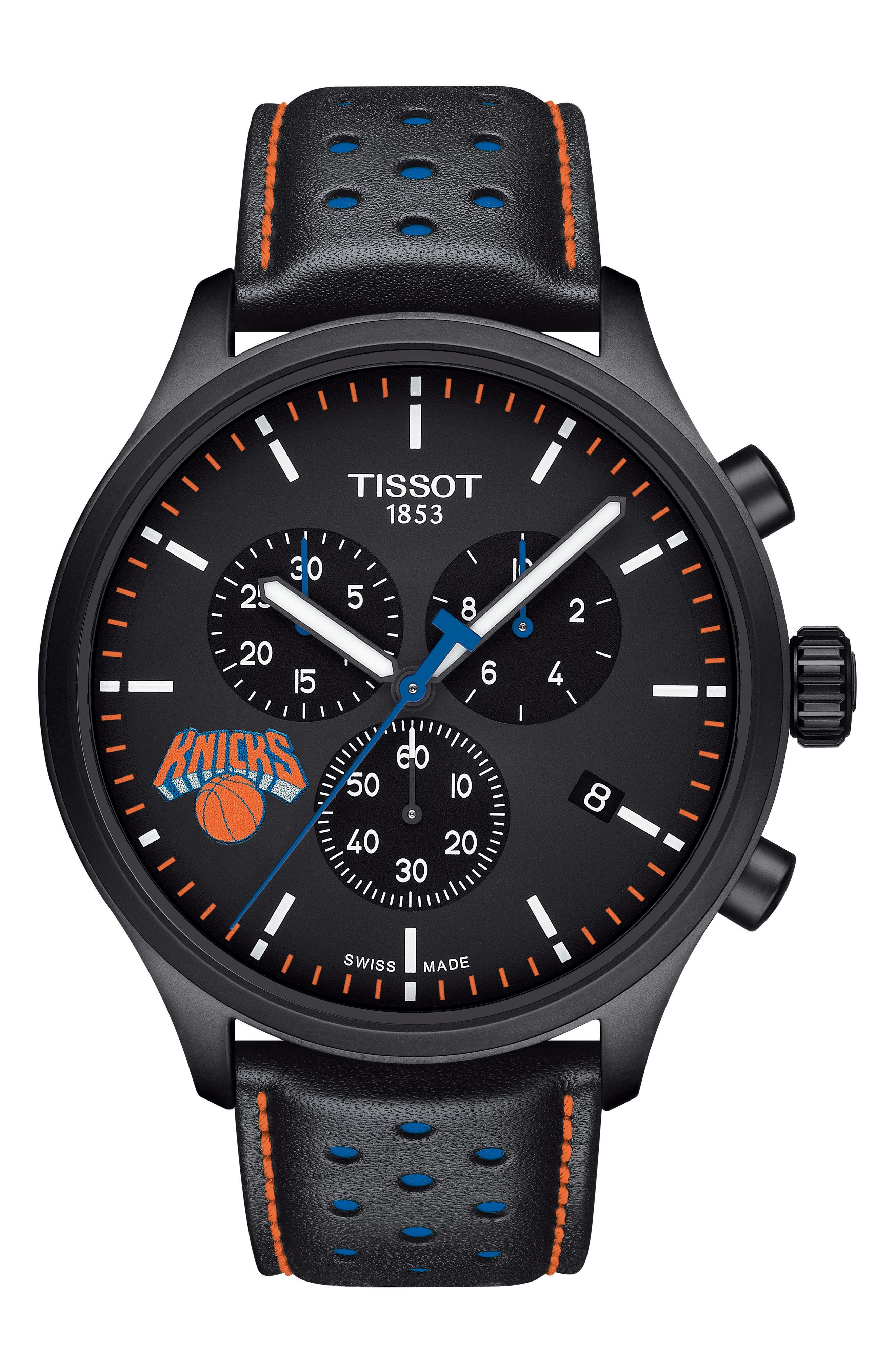 Chrono XL NBA Leather Strap Watch, 45mm,                             Main thumbnail 1, color,                             BLACK/ ORANGE/ BLUE
