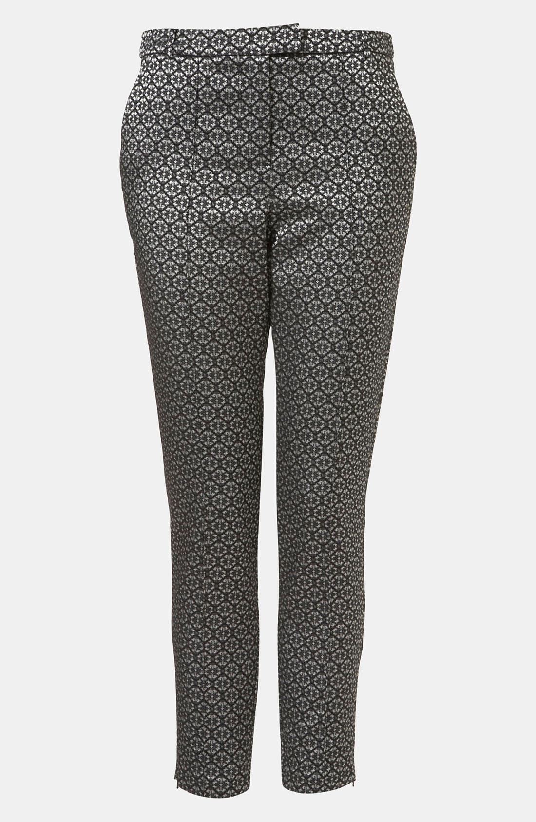 Tile Jacquard Crop Cigarette Pants, Main, color, 001