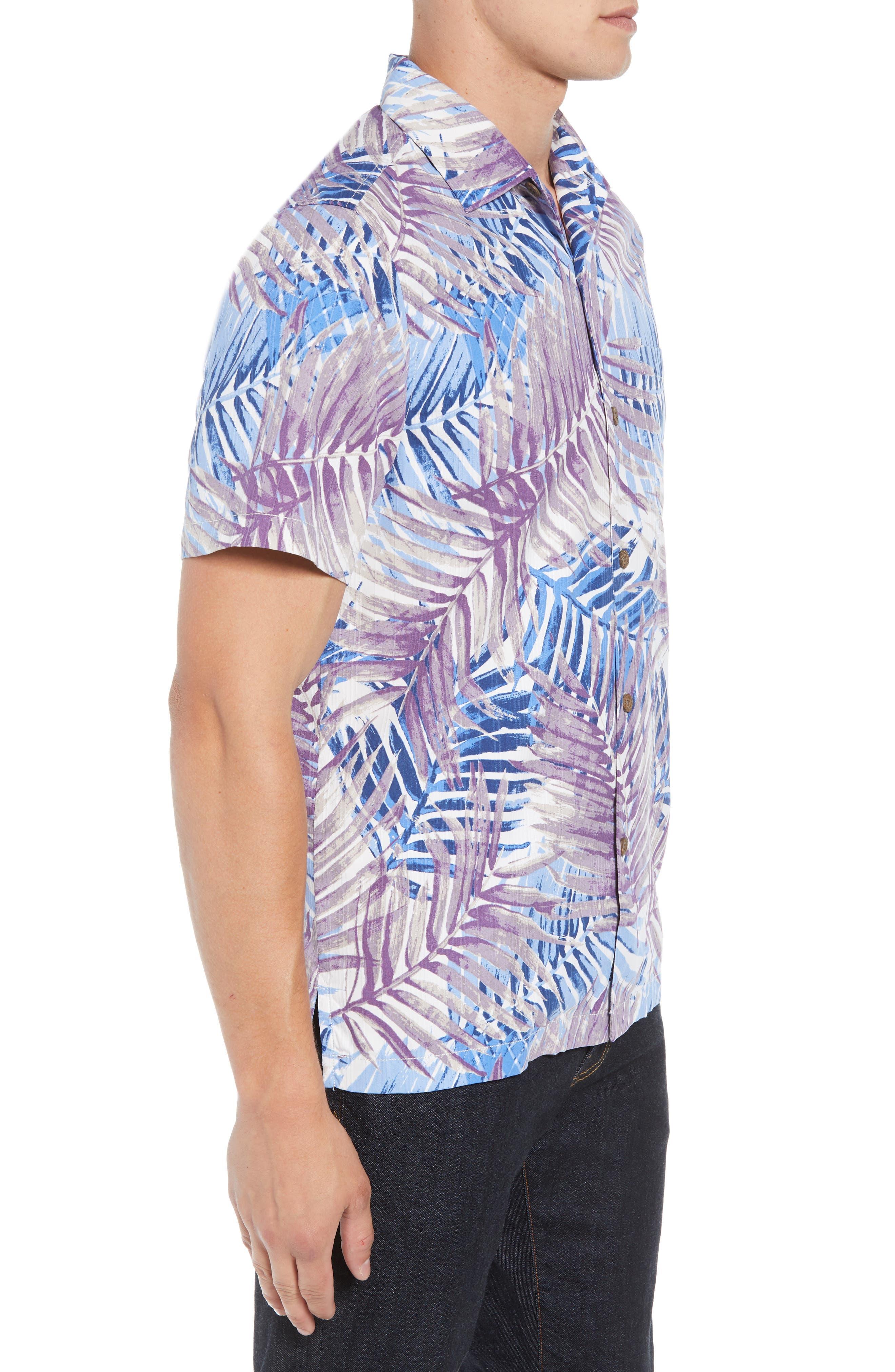 San Juan Fronds Silk Blend Camp Shirt,                             Alternate thumbnail 3, color,                             400