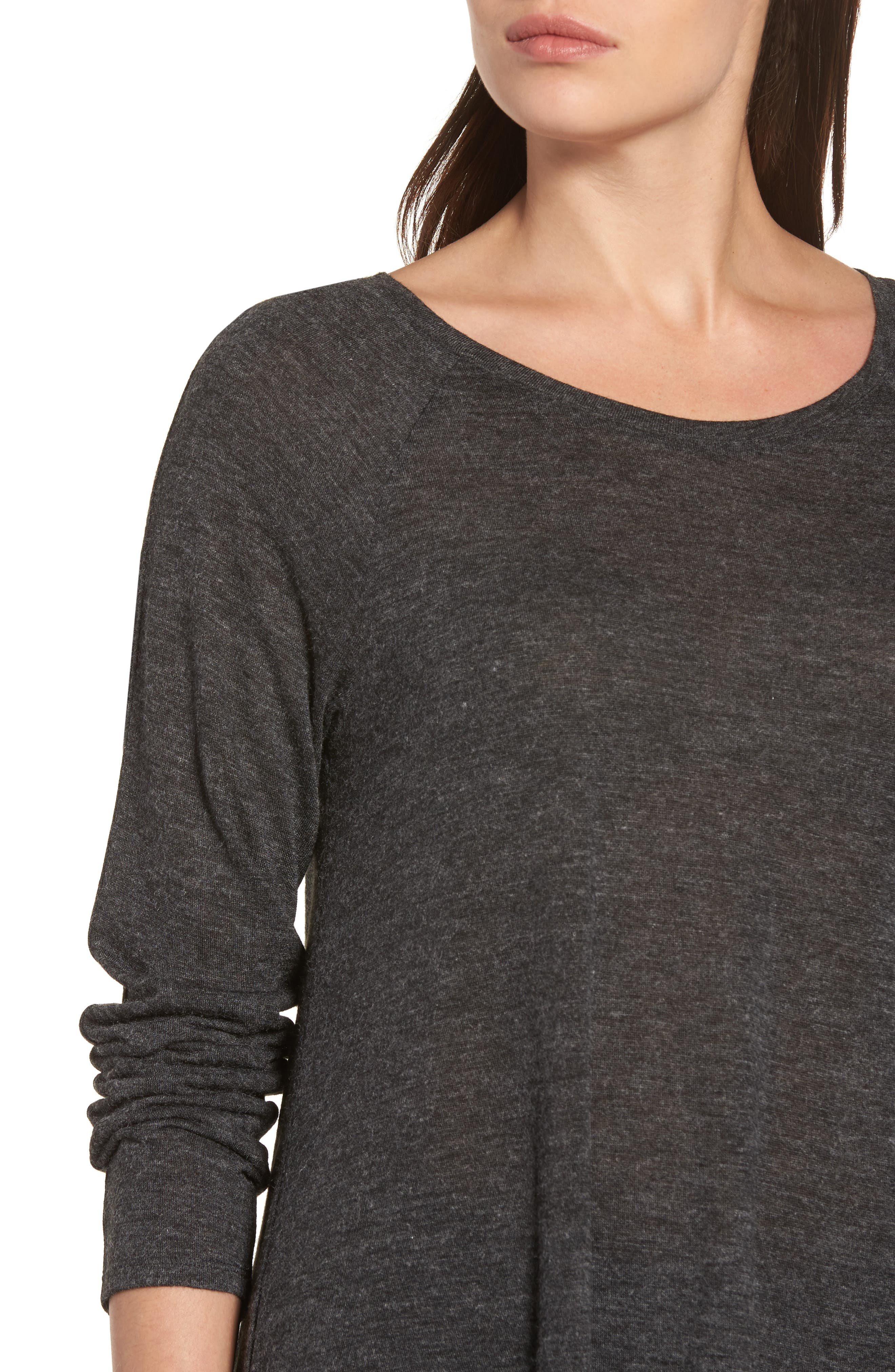 High/Low Tunic Sweatshirt,                             Alternate thumbnail 4, color,                             001