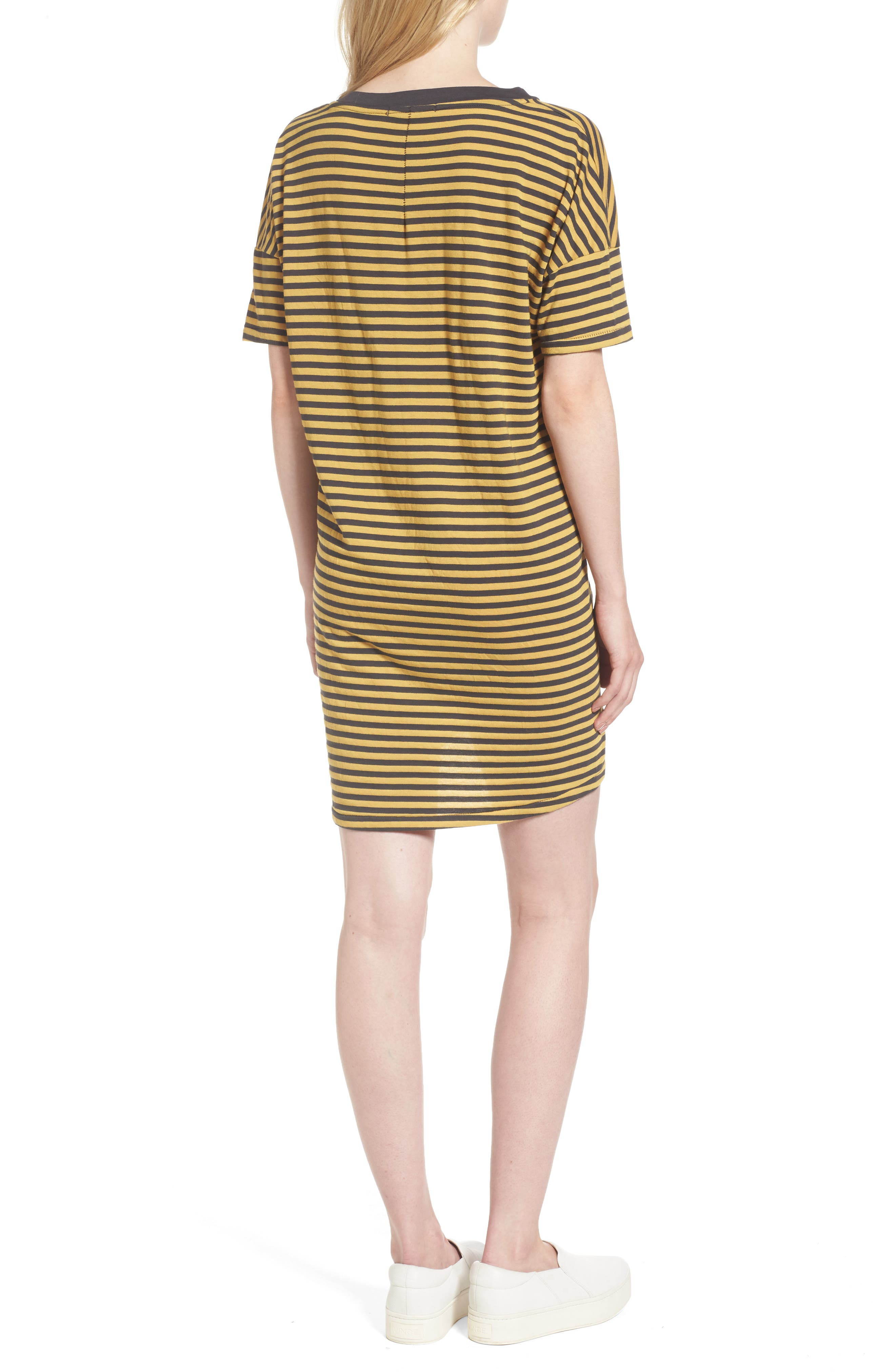 Mustard Stripe T-Shirt Dress,                             Alternate thumbnail 2, color,                             020