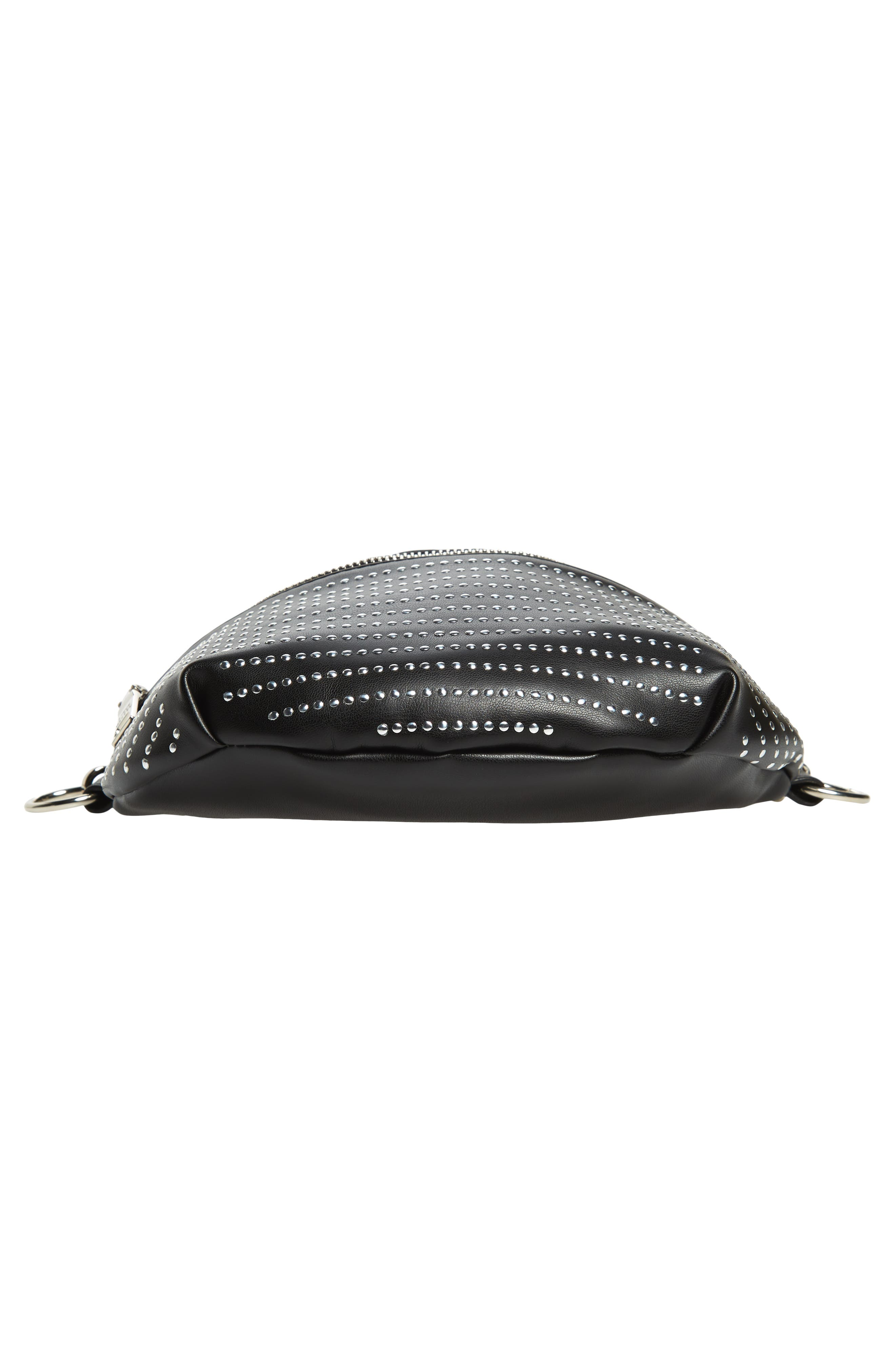 Quilted Faux Leather Fanny Pack,                             Alternate thumbnail 9, color,                             BLACK/ SILVER