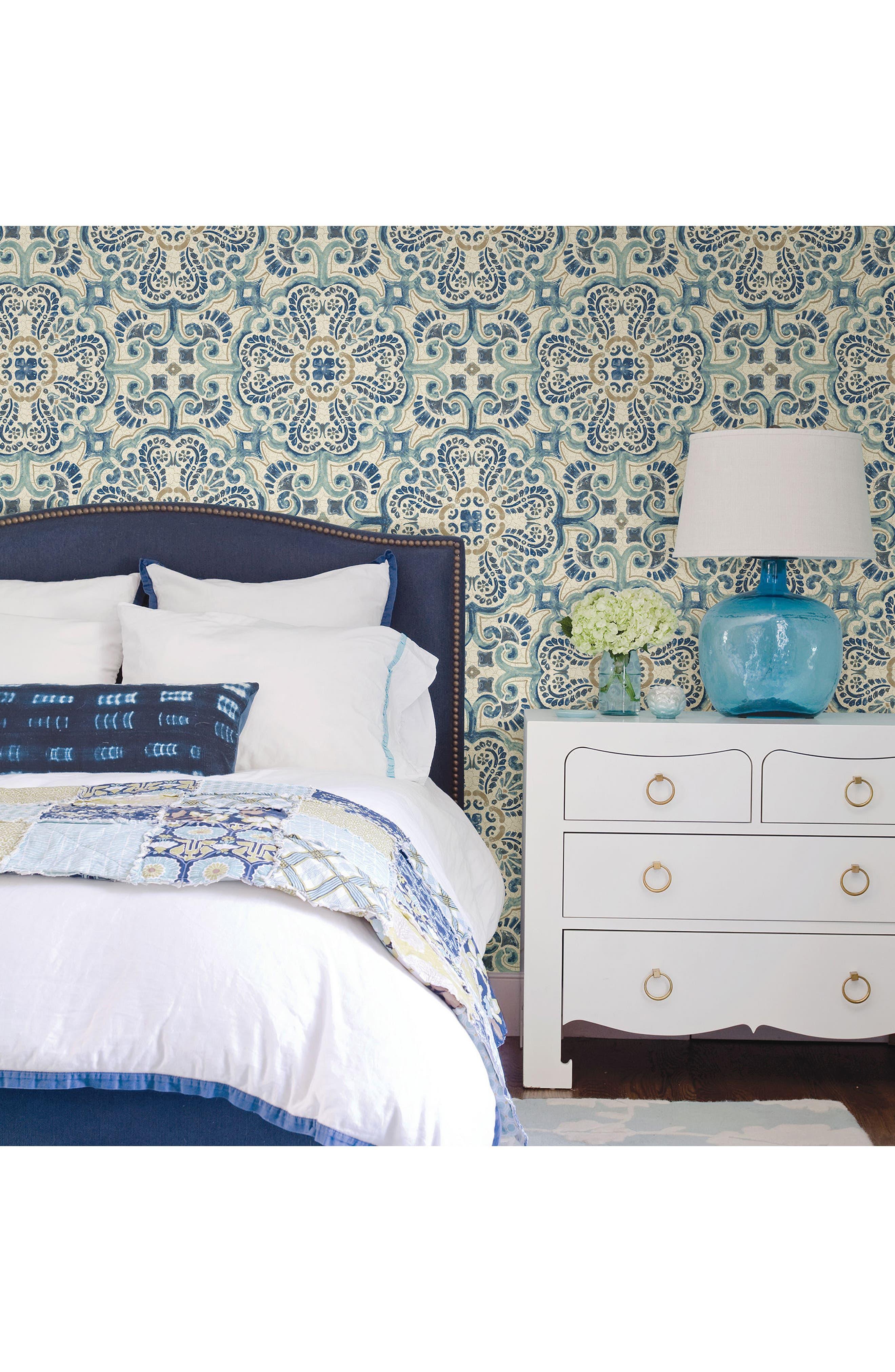 Blue Florentine Tile Peel & Stick Vinyl Wallpaper,                             Alternate thumbnail 2, color,                             400