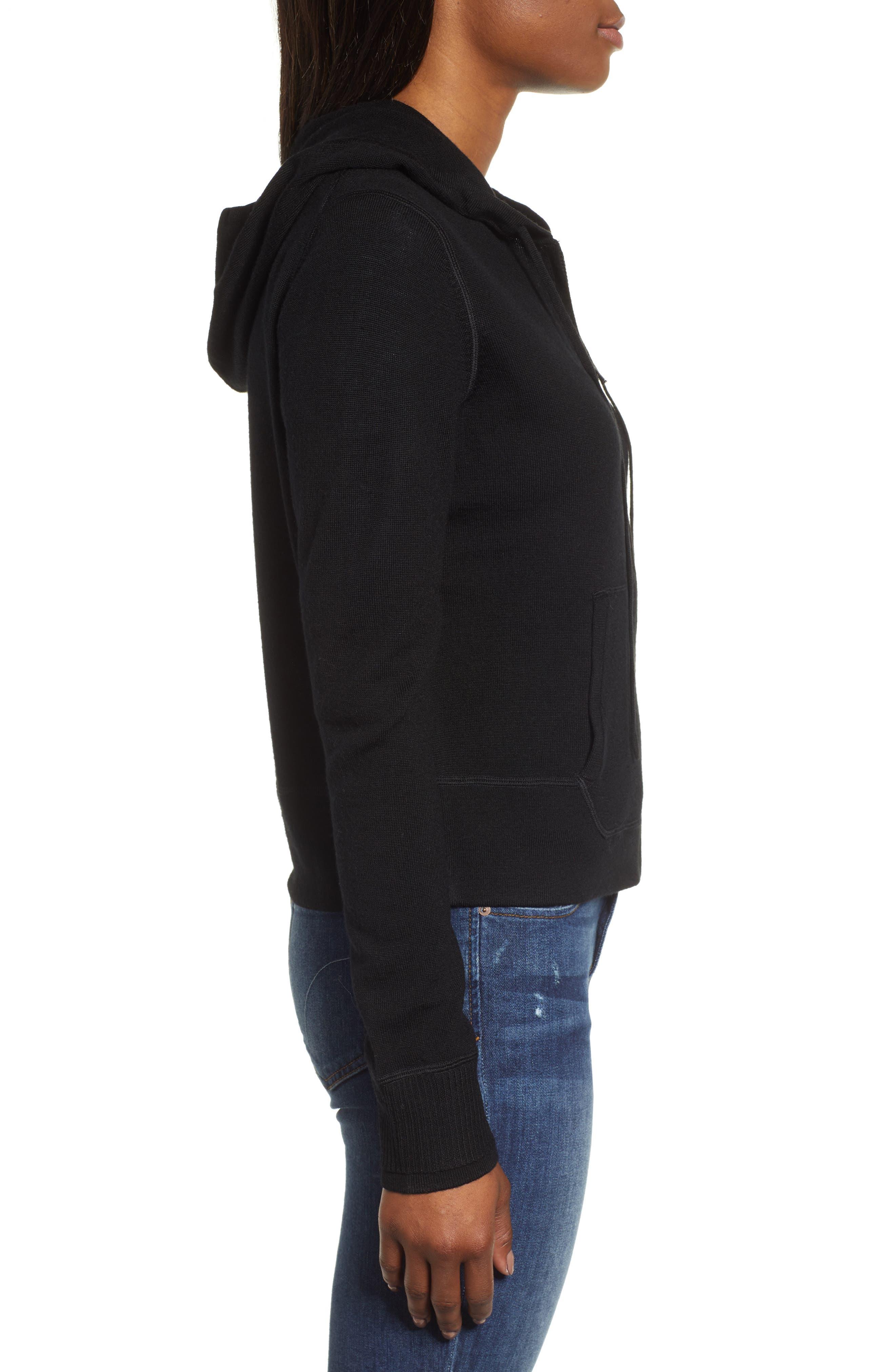Full Zip Hoodie Wool Sweater,                             Alternate thumbnail 3, color,                             JET BLACK