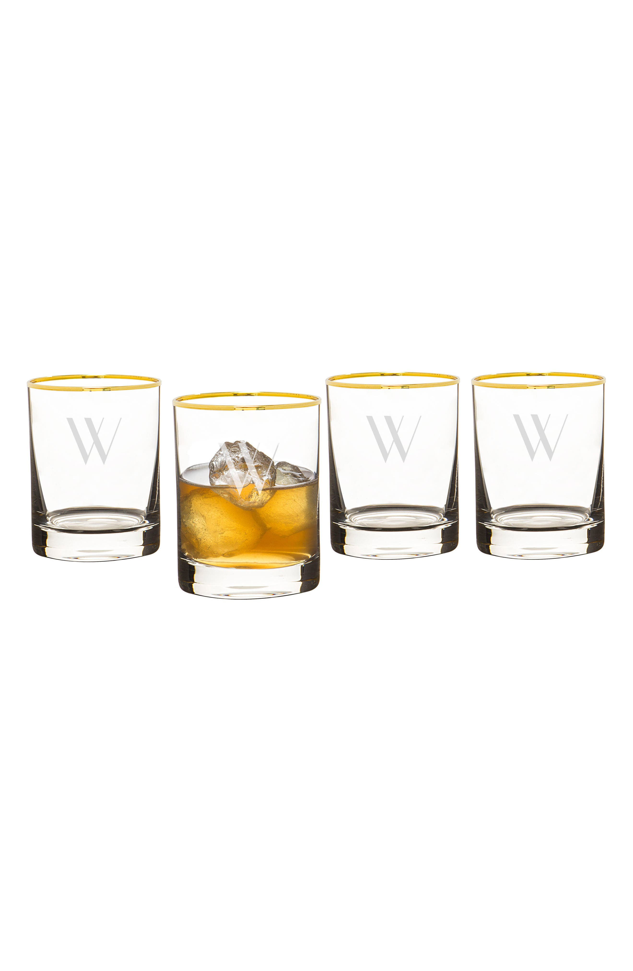Monogram Set of 4 Double Old Fashioned Glasses,                             Main thumbnail 23, color,