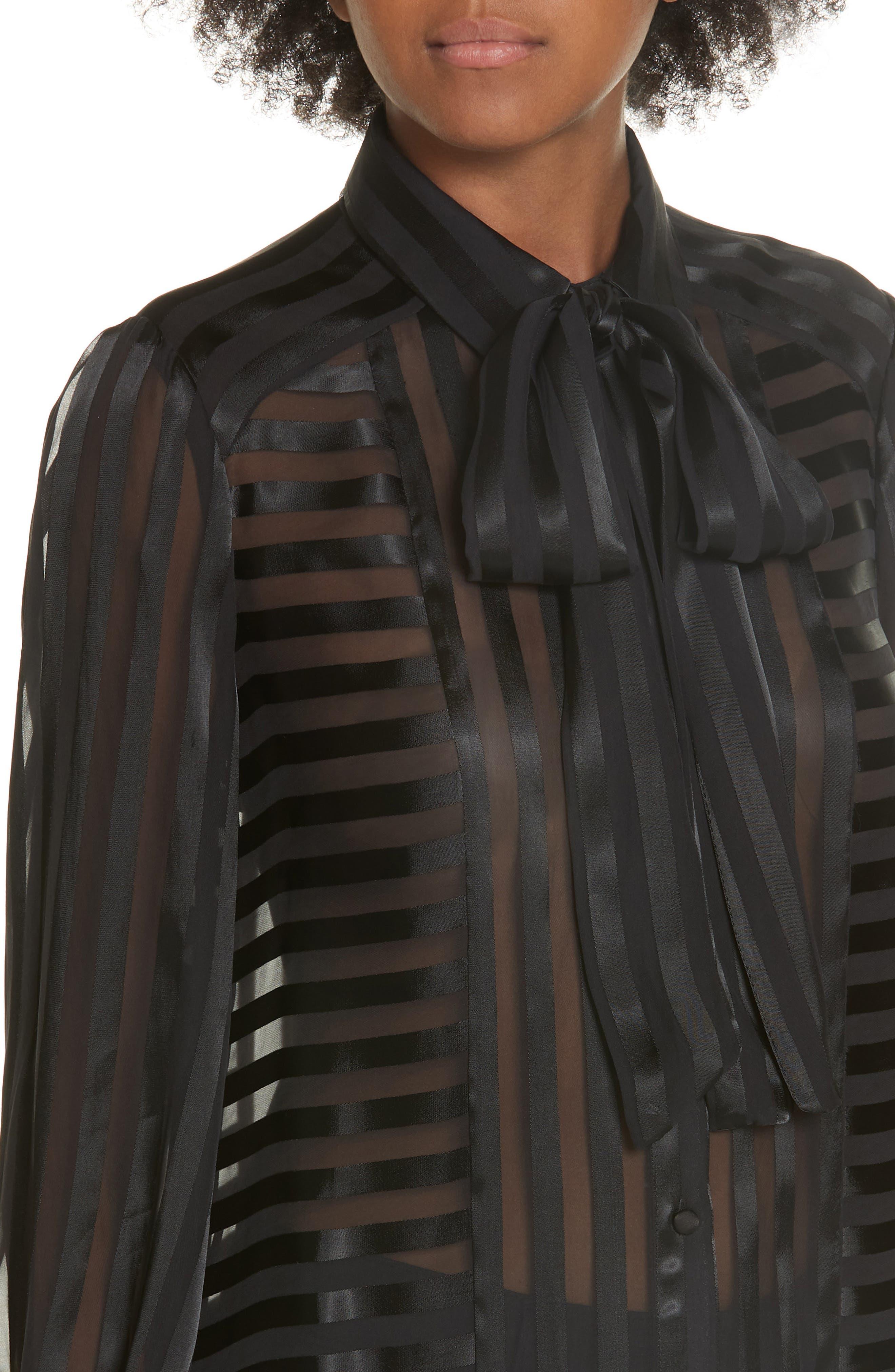 Tie Neck Shadow Stripe Blouse,                             Alternate thumbnail 4, color,                             SHADOW STRIPE BLACK