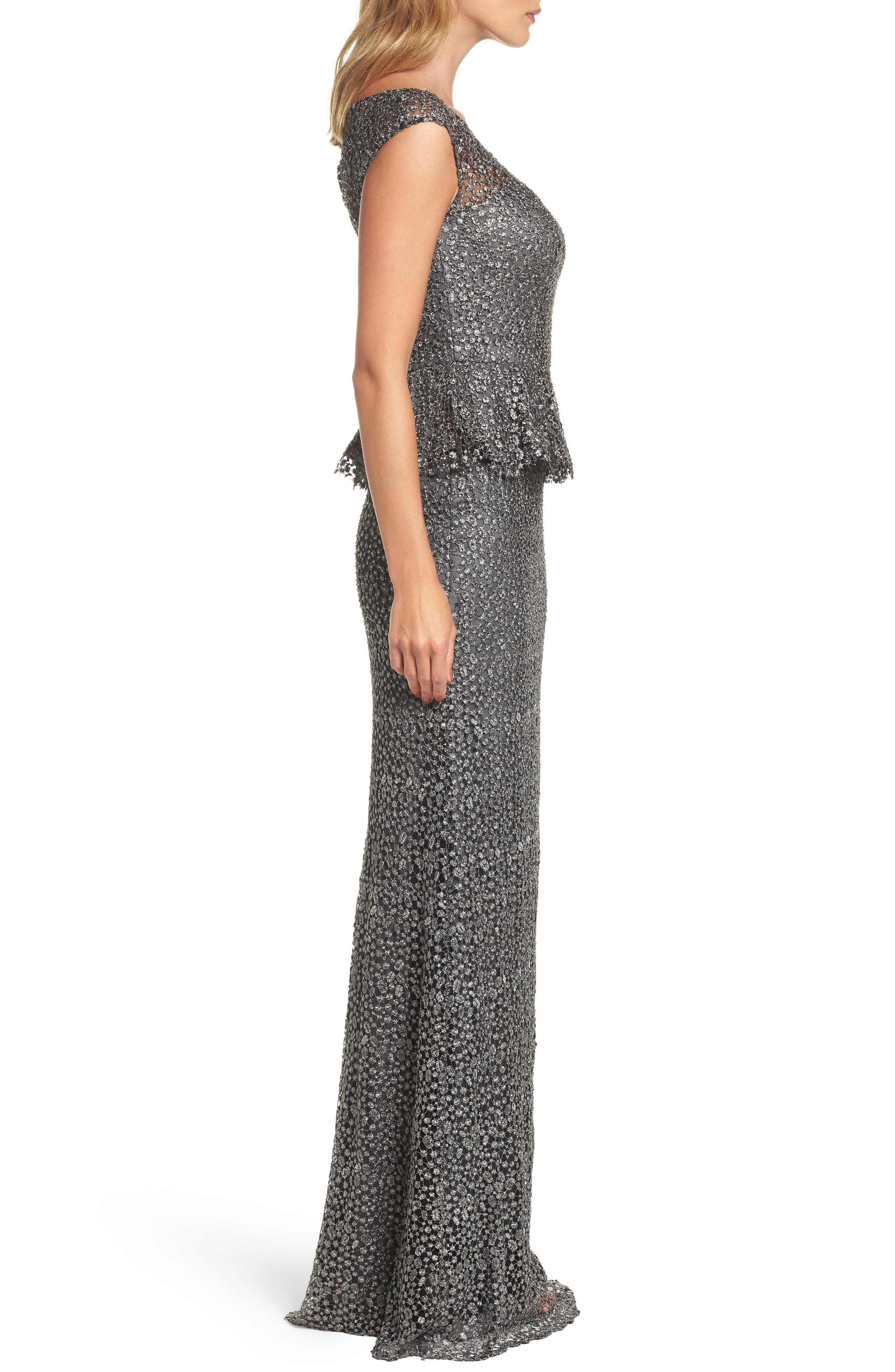 Embellished Lace Peplum Gown,                             Alternate thumbnail 3, color,                             GUNMETAL