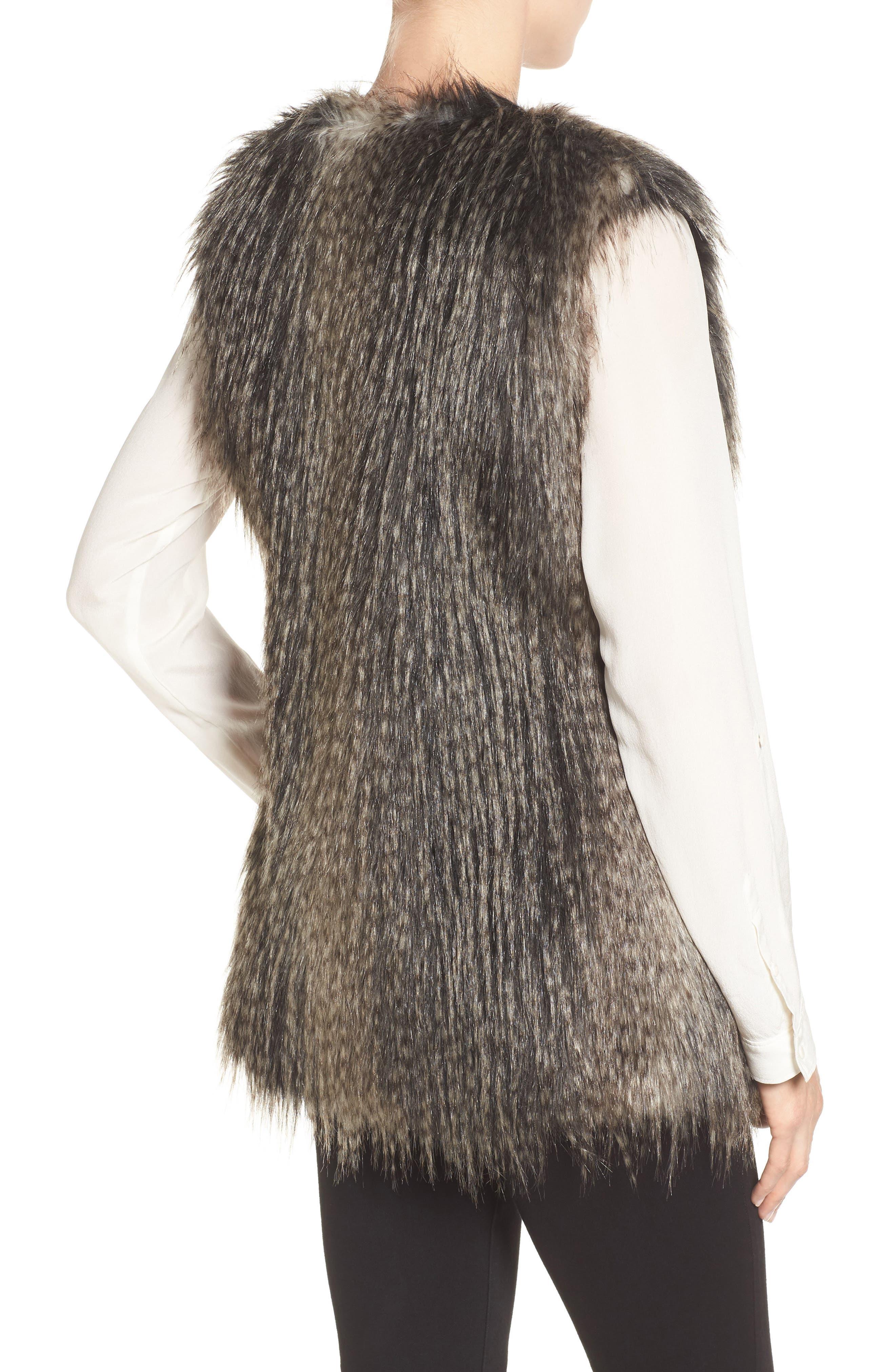 Collarless Faux Fur Vest,                             Alternate thumbnail 2, color,                             001