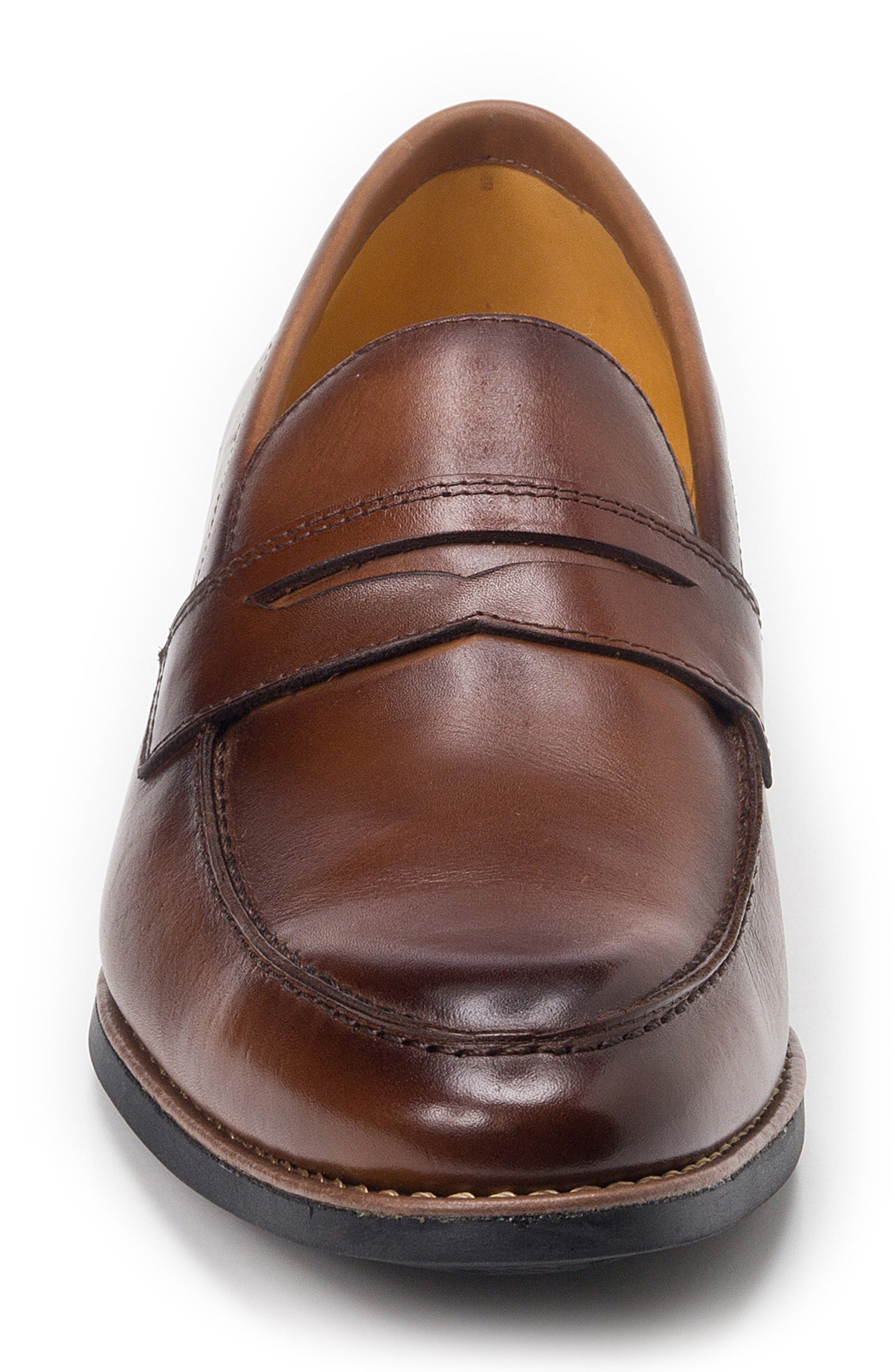 Mundo Penny Loafer,                             Alternate thumbnail 4, color,                             BROWN LEATHER