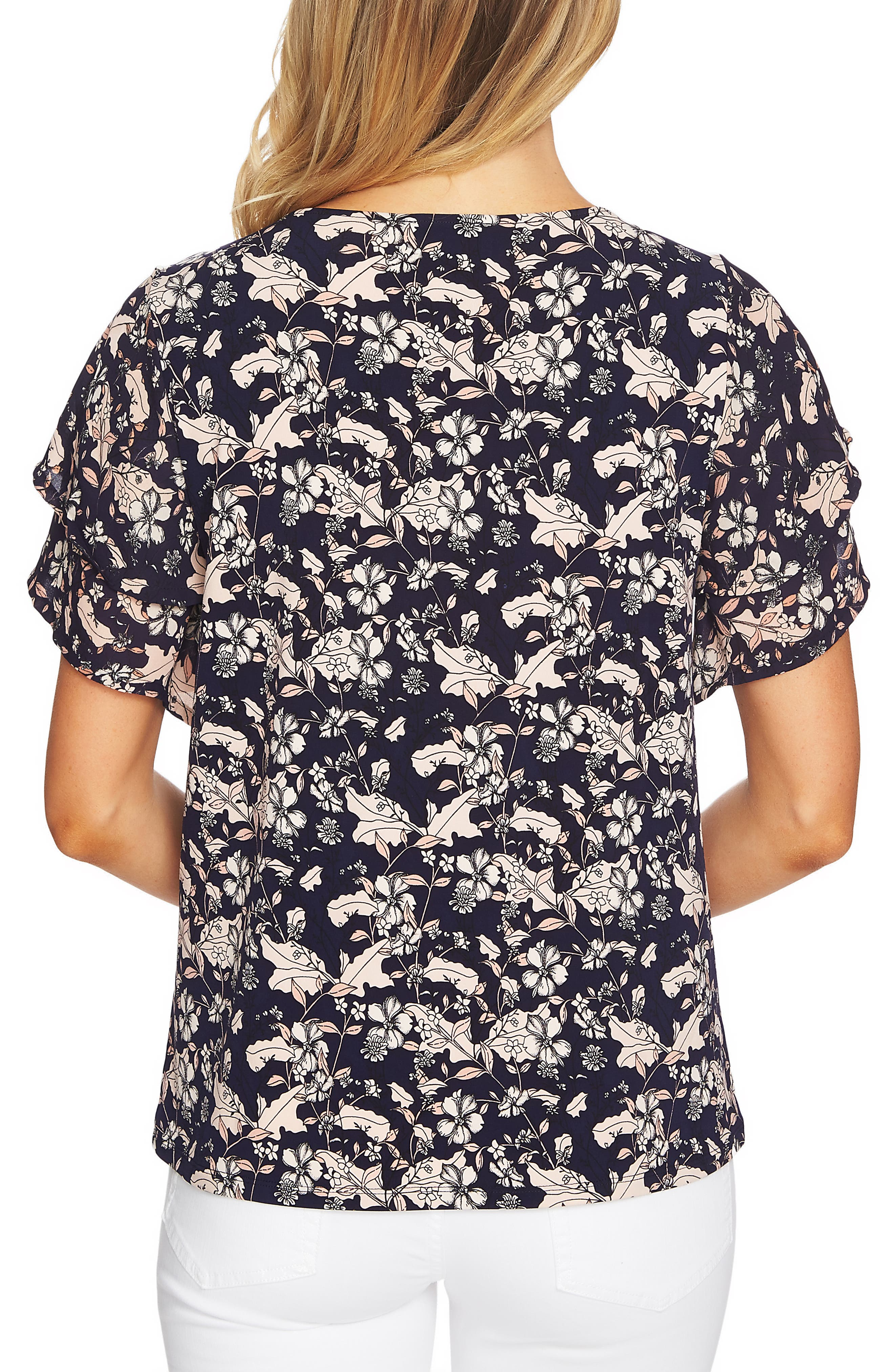 Tiered Sleeve Floral Top,                             Alternate thumbnail 2, color,                             COCOA SAND