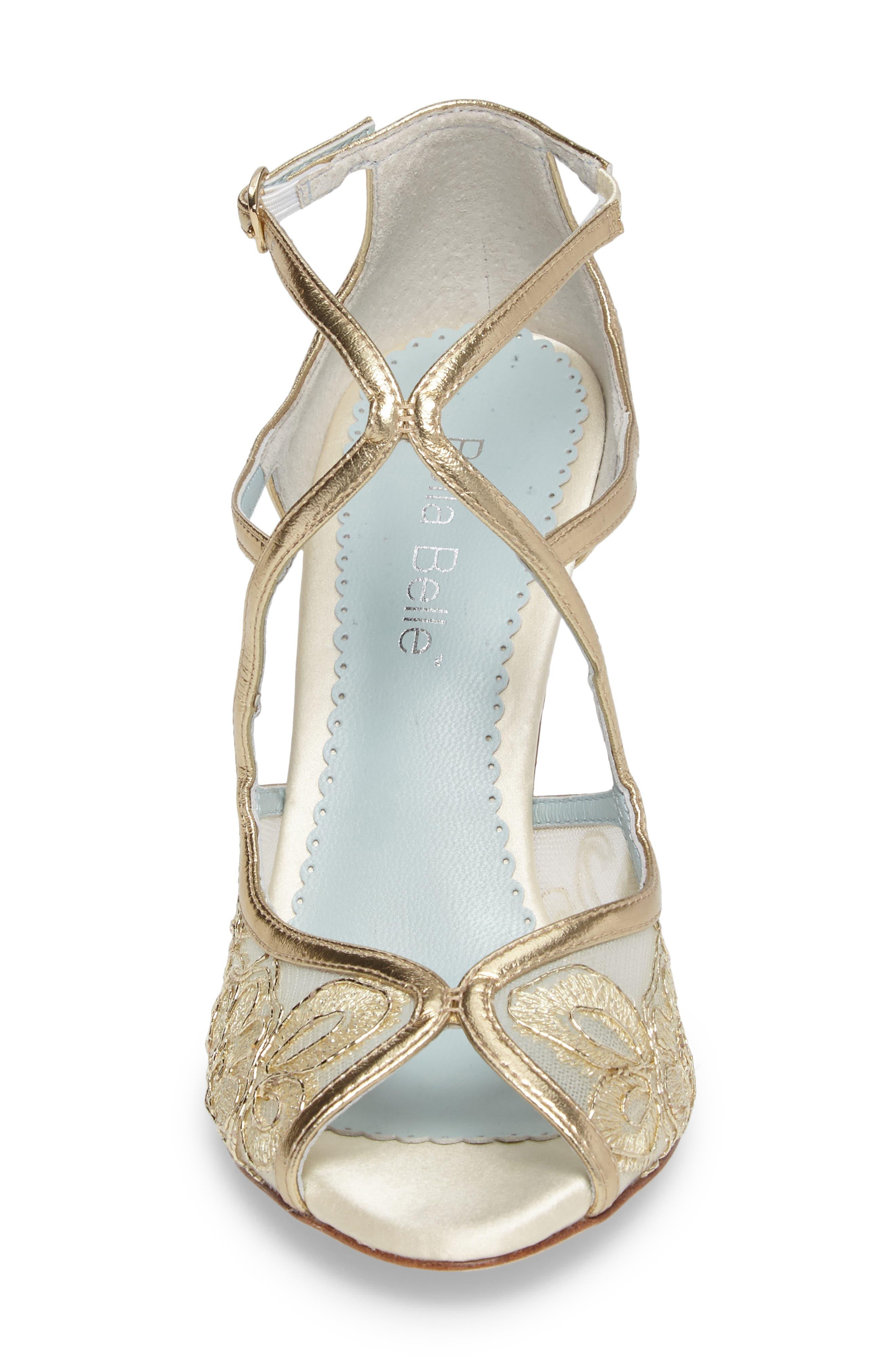 Tess Peep Toe Sandal,                             Alternate thumbnail 4, color,                             GOLD LEATHER