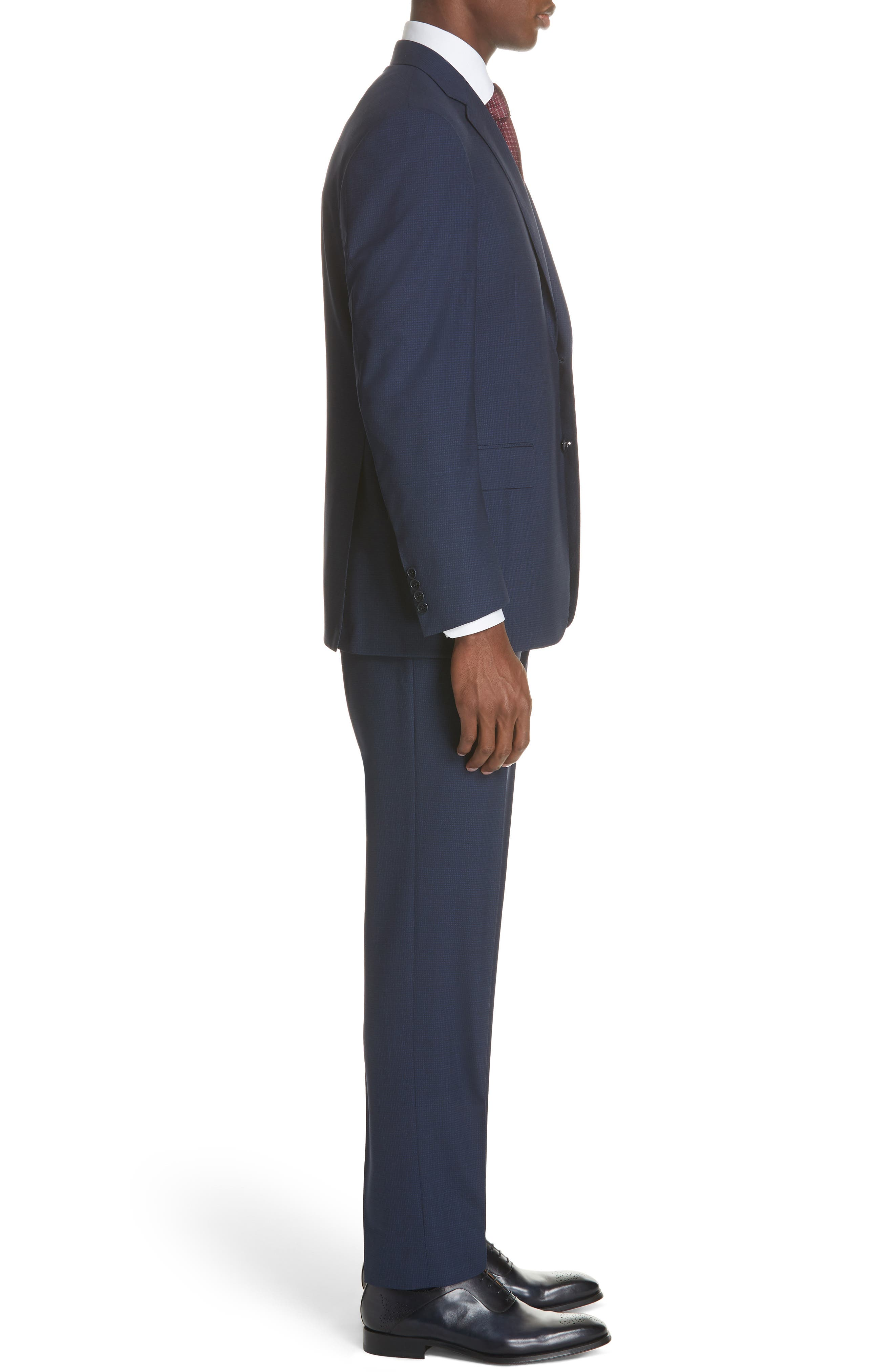 CANALI,                             Classic Fit Check Wool Suit,                             Alternate thumbnail 3, color,                             400