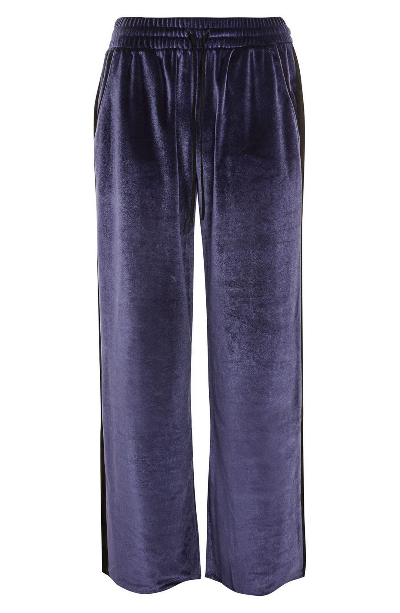 Nocturne Velvet Pajama Pants,                             Alternate thumbnail 3, color,                             410