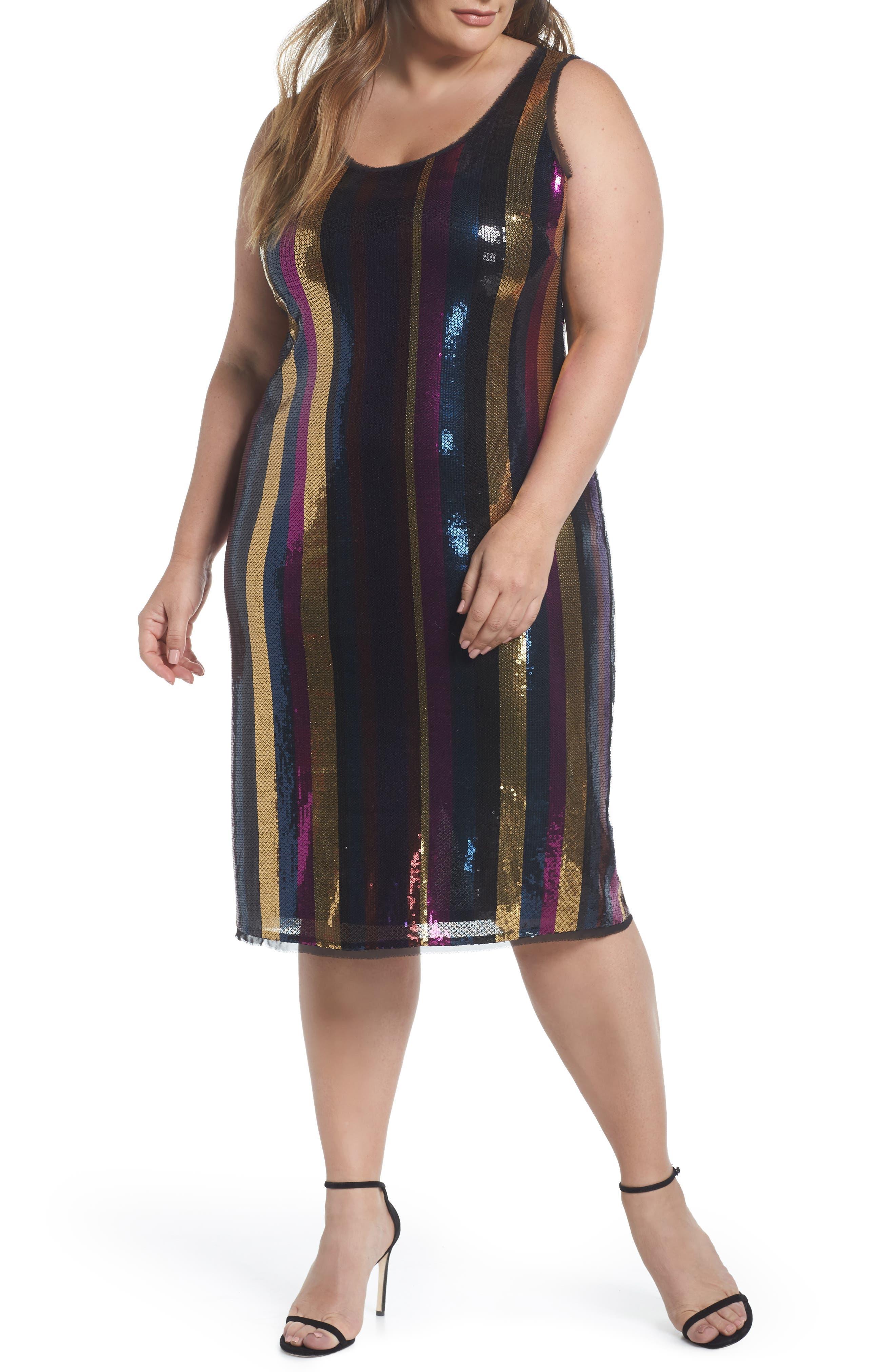 Veda Sequin Stripe Dress,                             Main thumbnail 1, color,                             MULTI COLOR COMBO