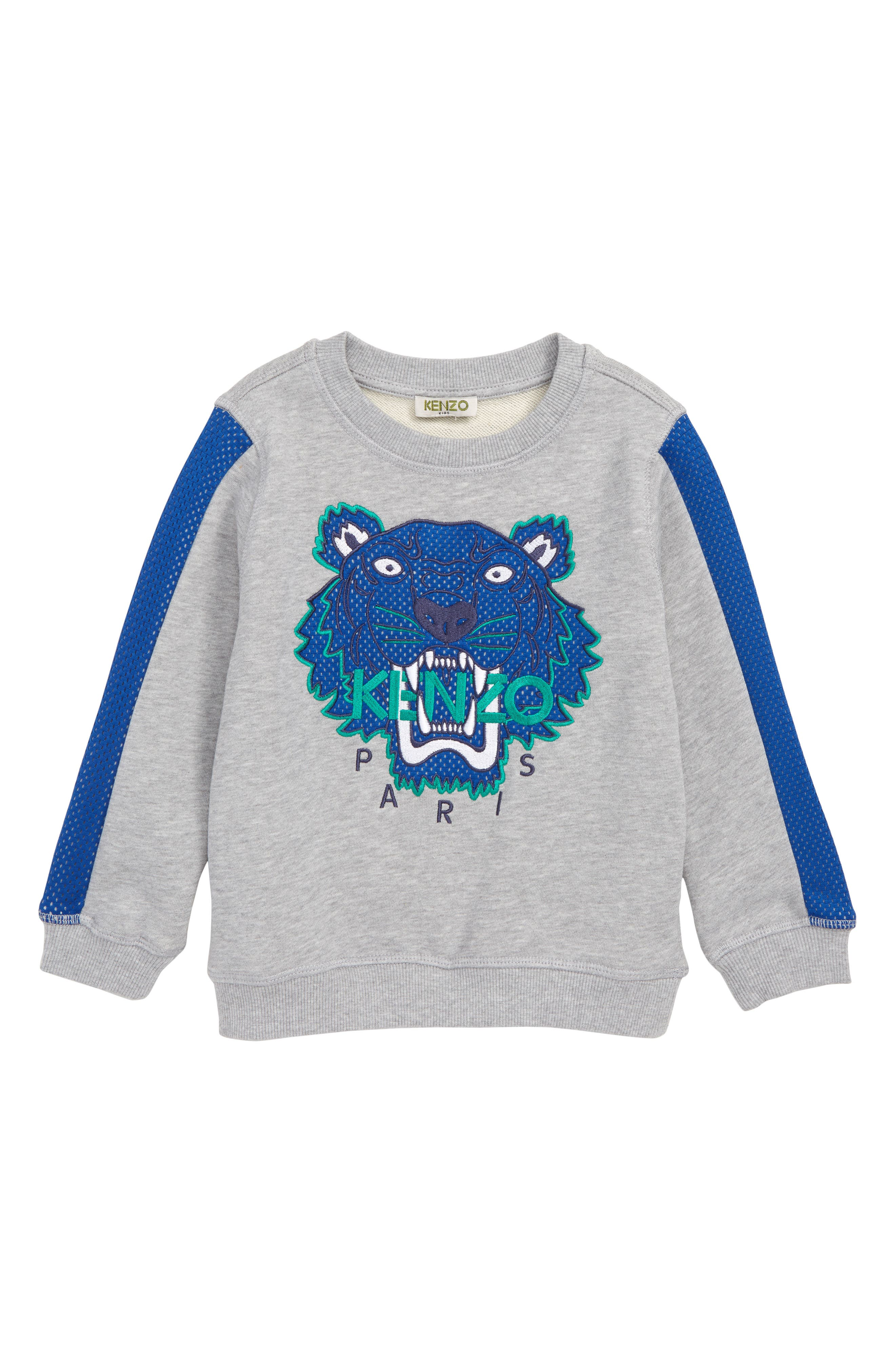 KENZO,                             Tiger Appliqué Sweatshirt,                             Main thumbnail 1, color,                             MARL GREY