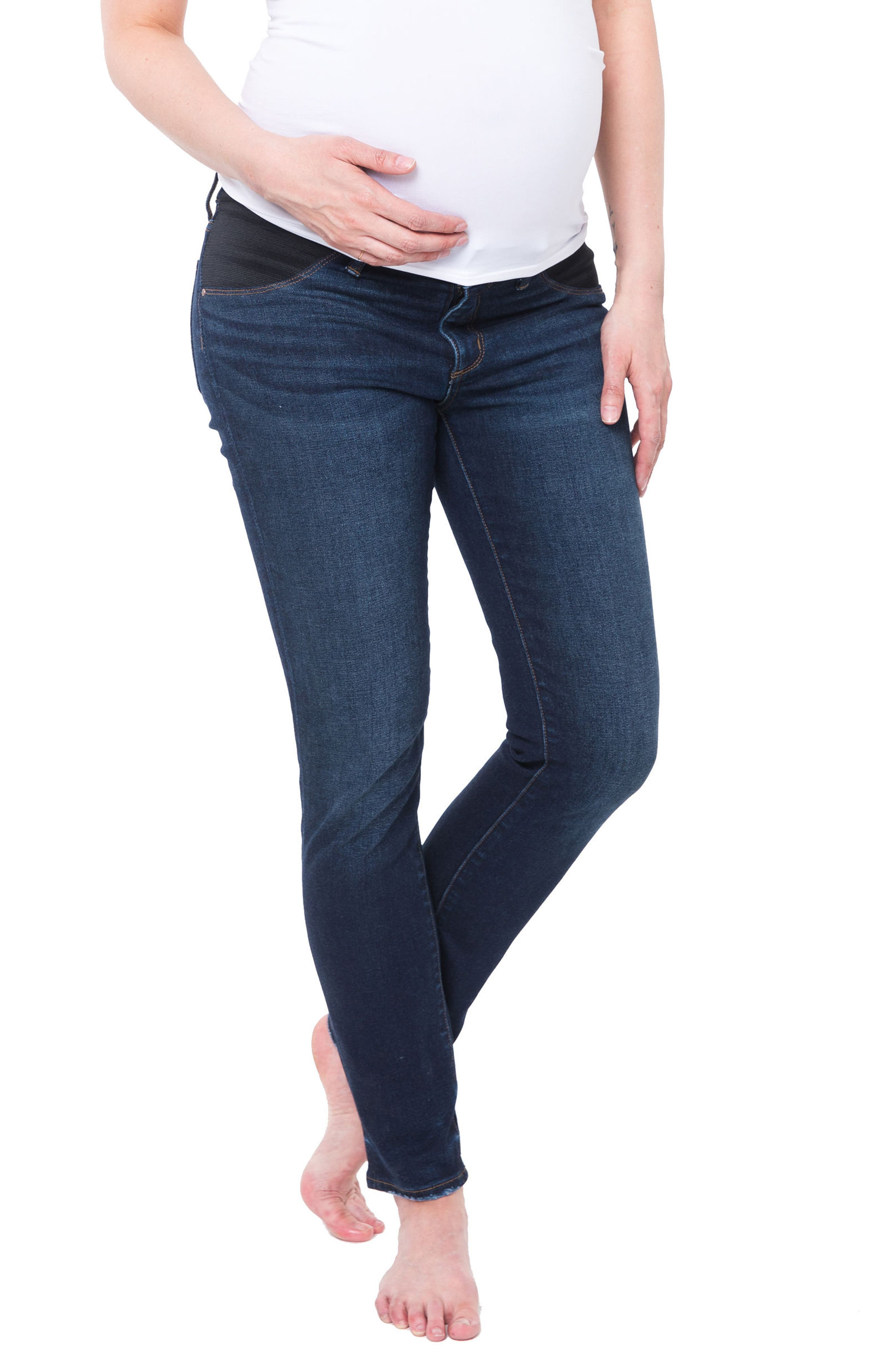 NOM MATERNITY Chelsea Under the Belly Ankle Skinny Jeans, Main, color, DARK WASH