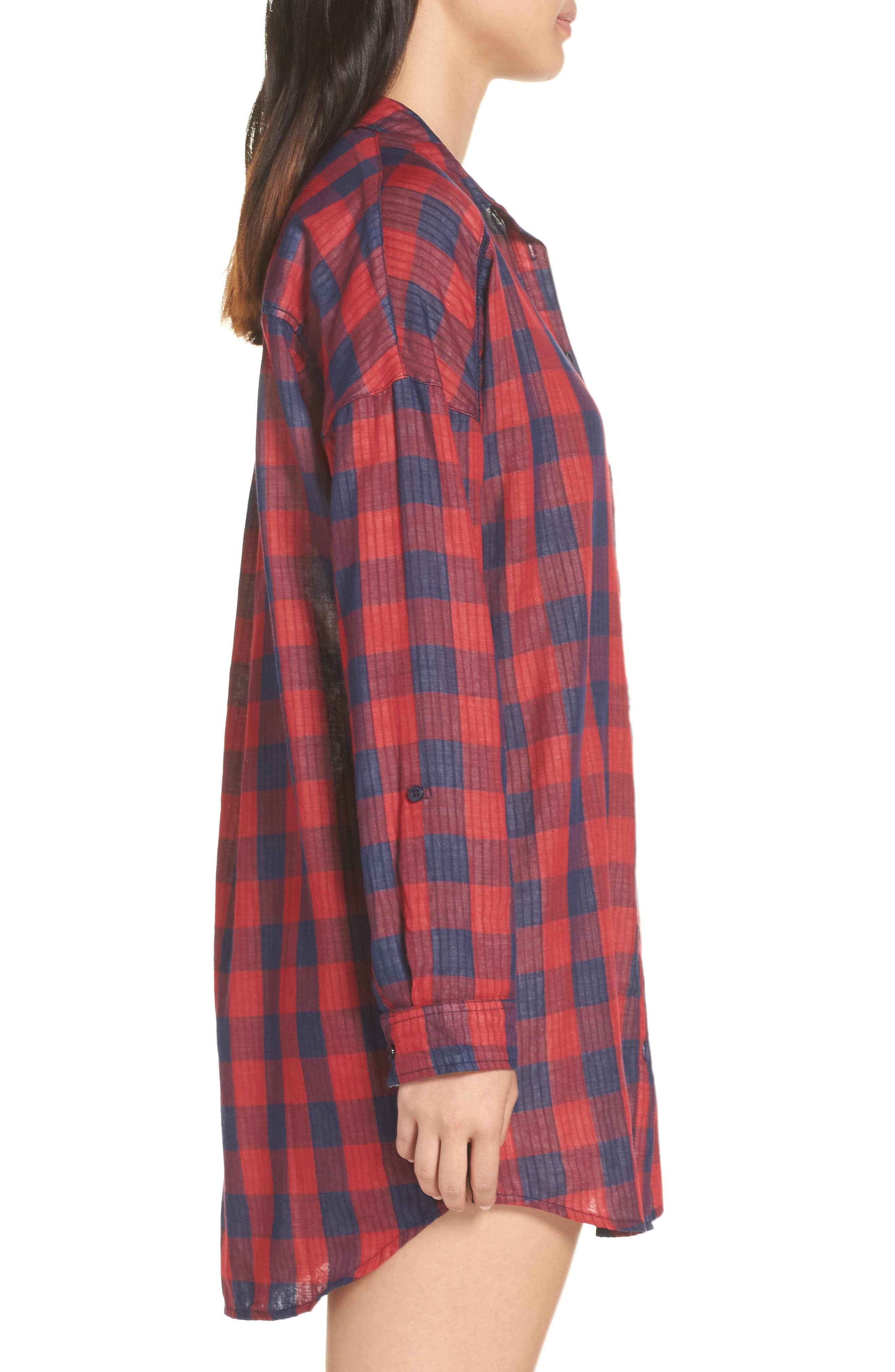 Check Nightshirt,                             Alternate thumbnail 3, color,                             RED