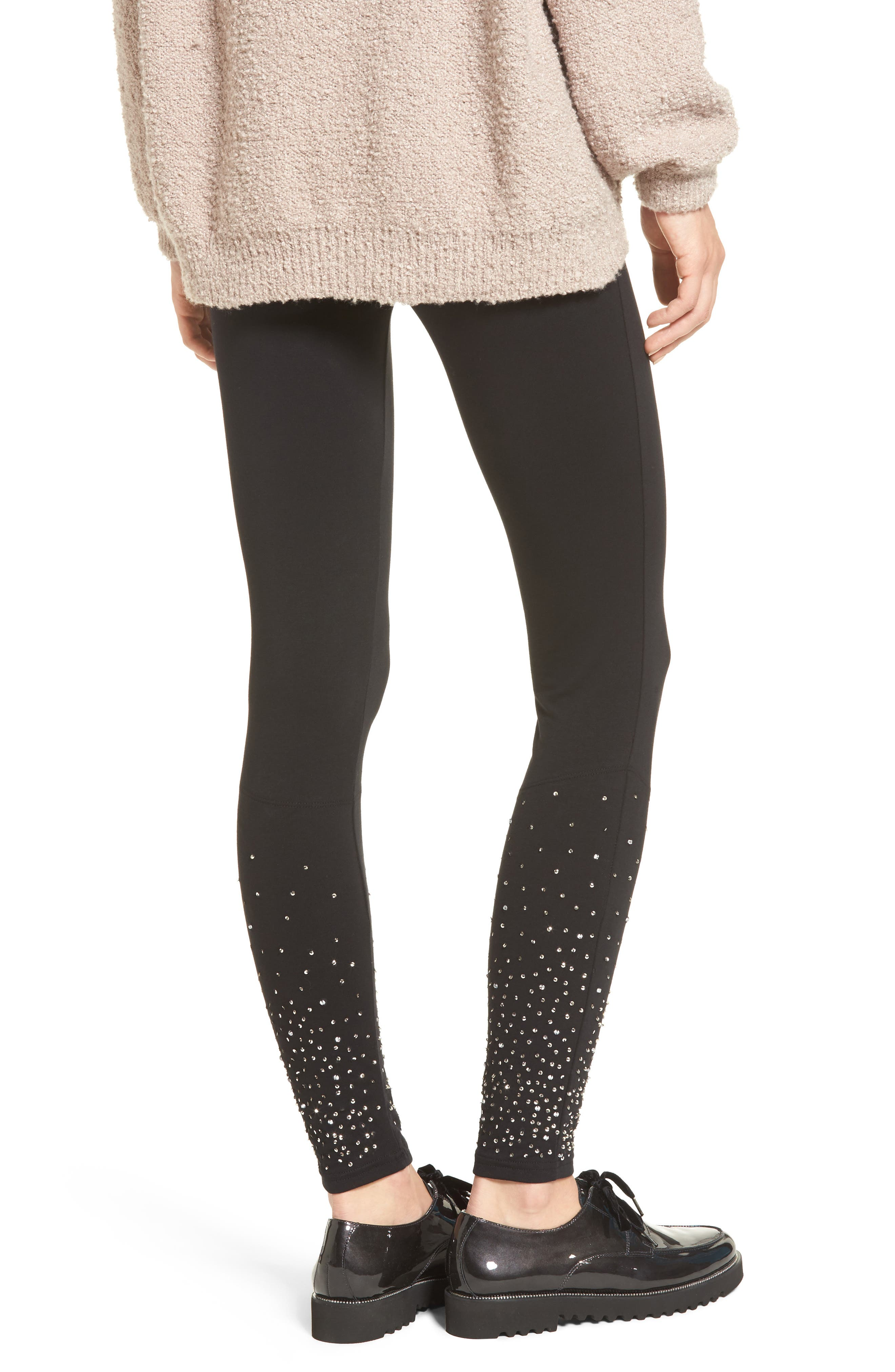 Sequin Embellished Leggings,                             Alternate thumbnail 2, color,                             001