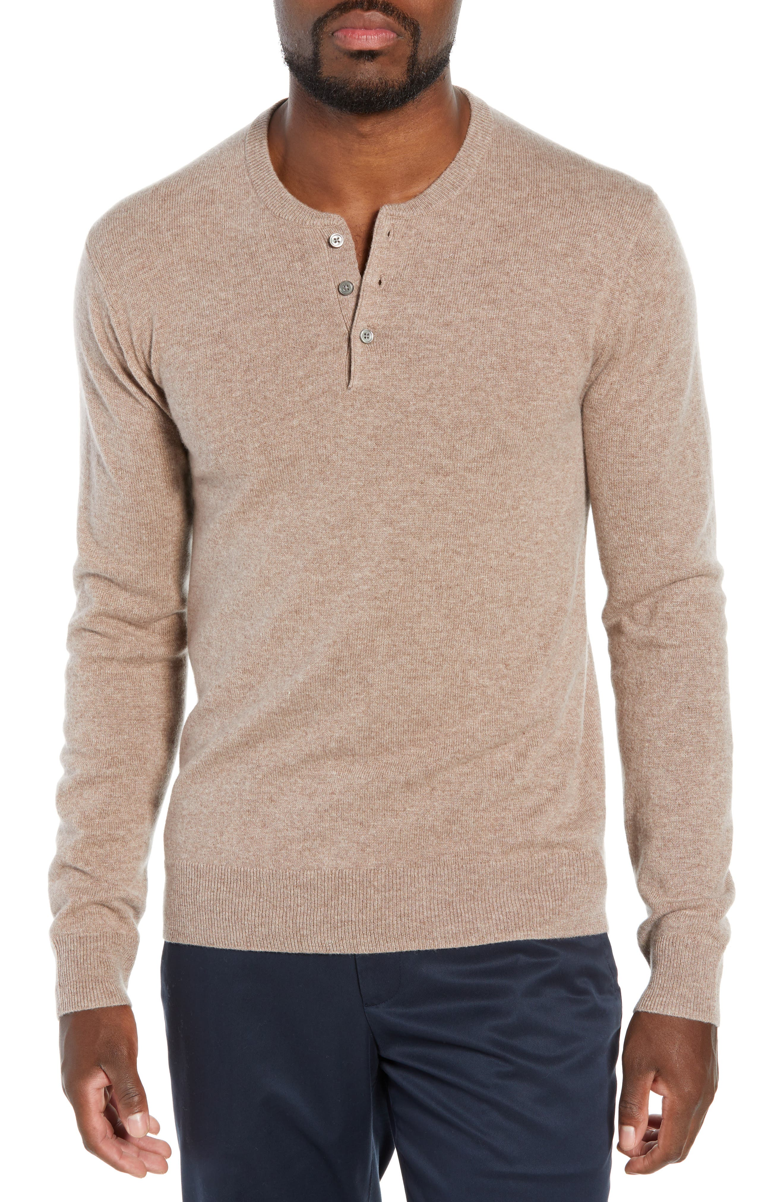 Slim Fit Cashmere Henley Sweater, Main, color, 200