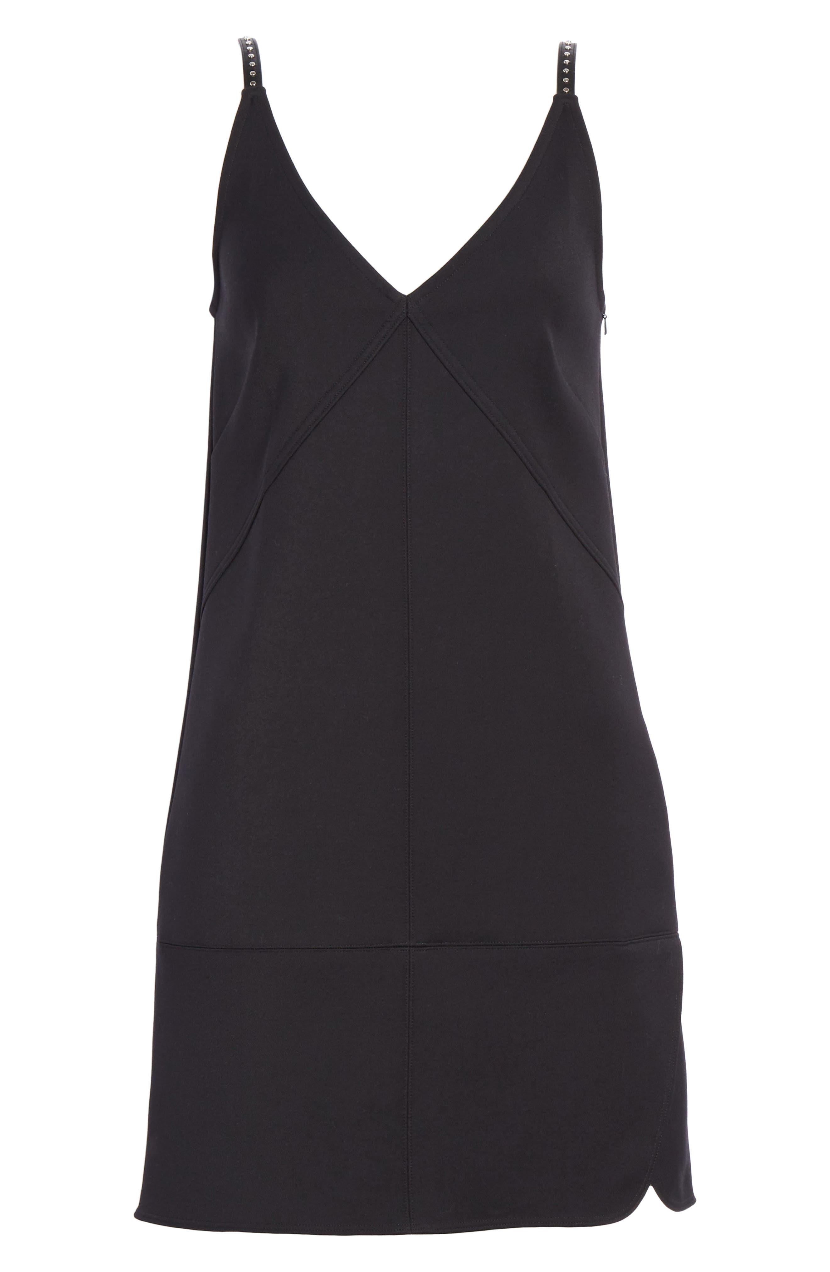 Studded Camisole Dress,                             Alternate thumbnail 6, color,                             BLACK
