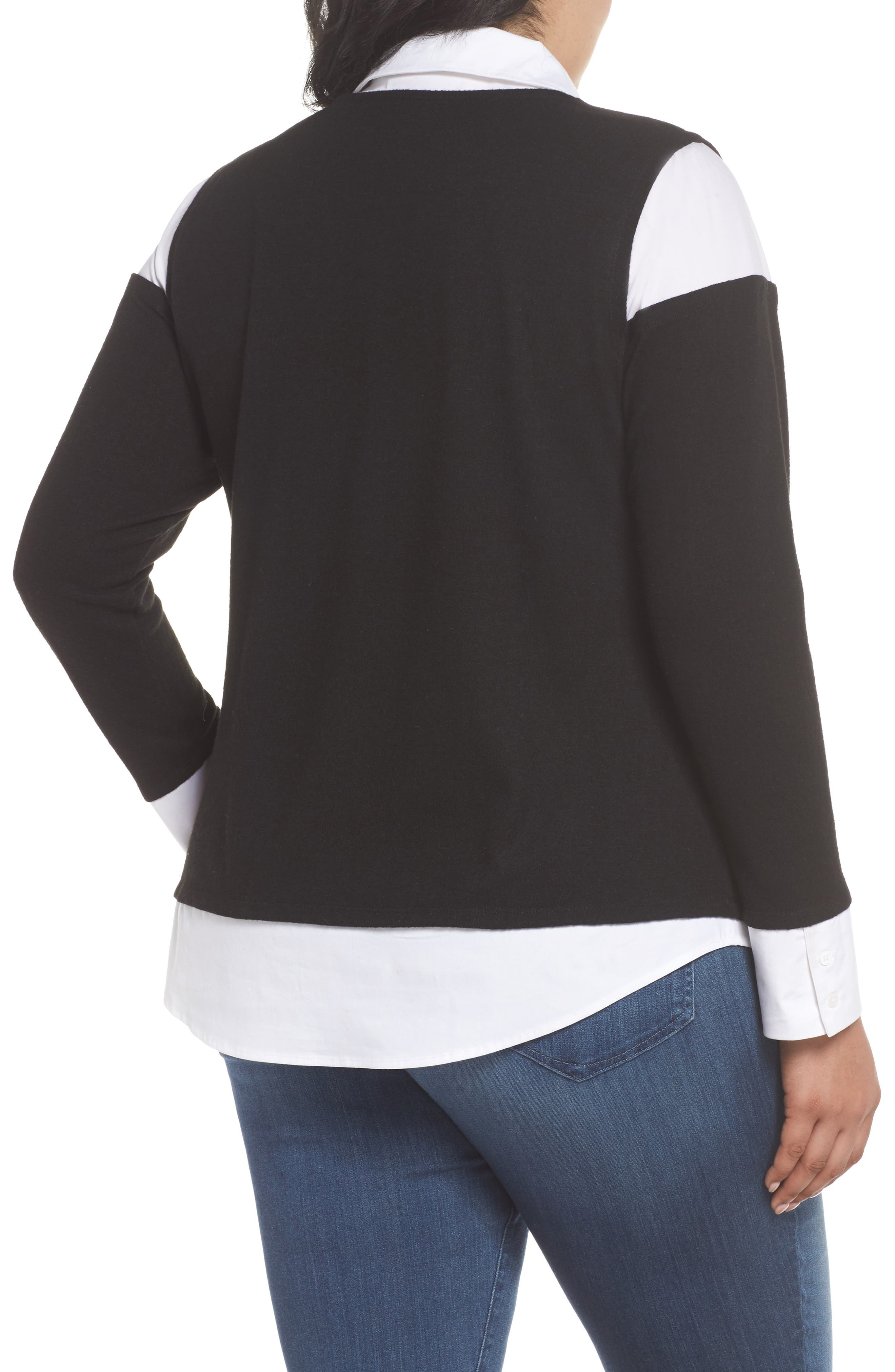 Mix Media Brushed Jersey Top,                             Alternate thumbnail 2, color,                             006