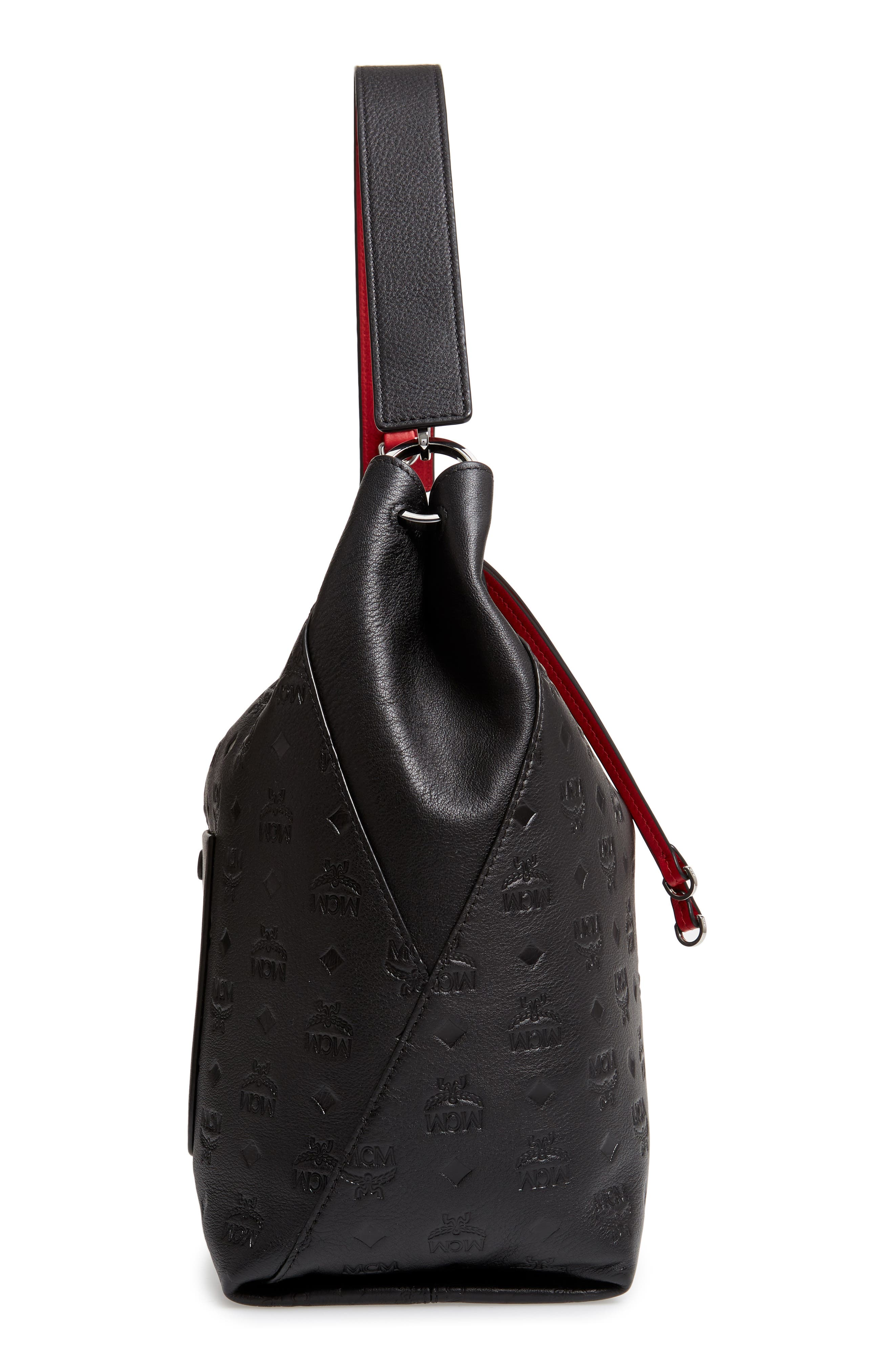 Klara Monogrammed Leather Hobo Bag,                             Alternate thumbnail 6, color,                             001